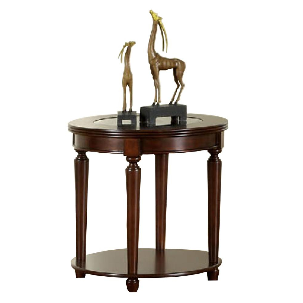 Most Current Furniture Of America Crescent Dark Cherry Glass Top Oval Coffee Tables Pertaining To Granvia Dark Cherry End Table (View 6 of 20)