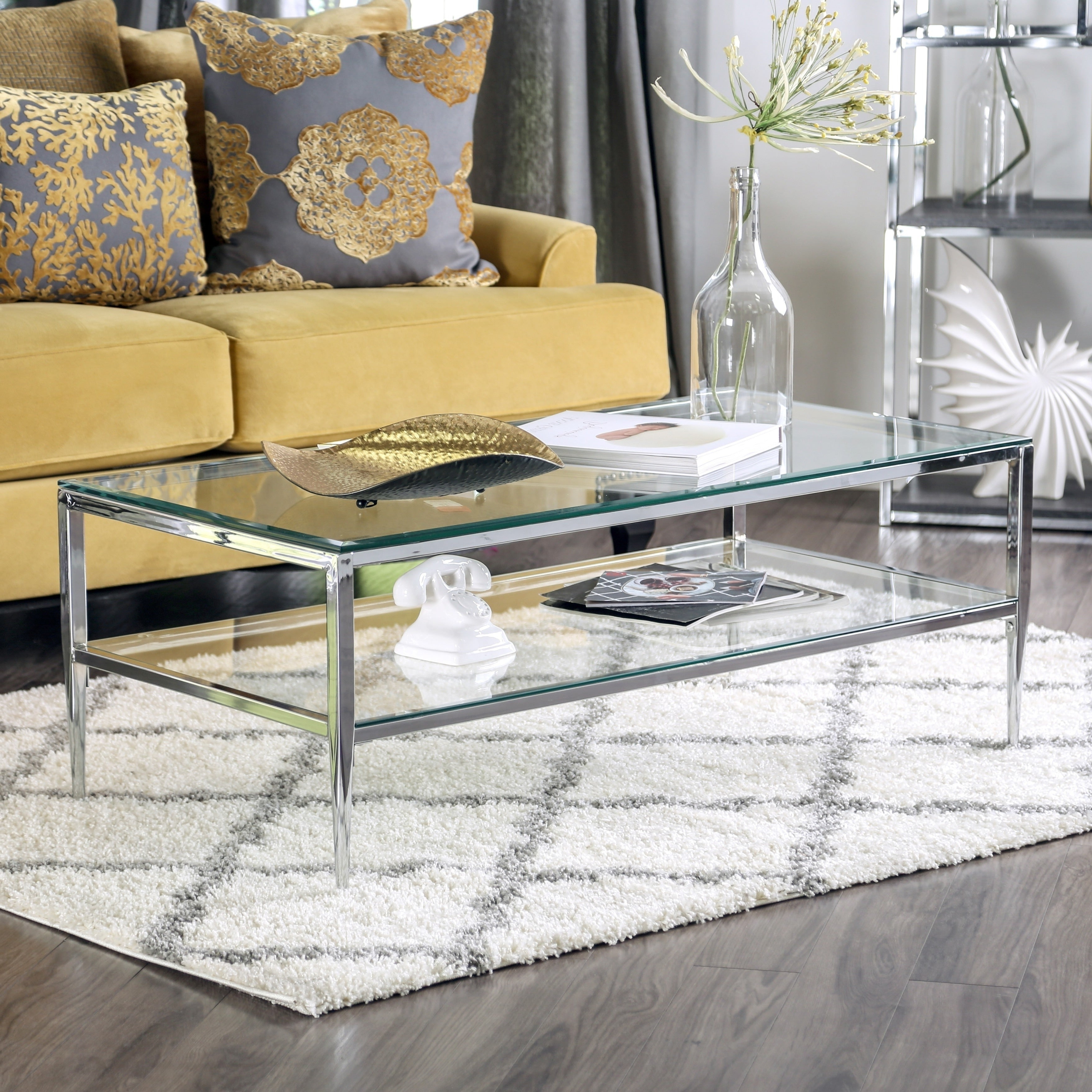 Most Current Furniture Of America Orelia Brass Luxury Copper Metal Coffee Tables With Midiva Contemporary Coffee Tablefoa (View 14 of 20)