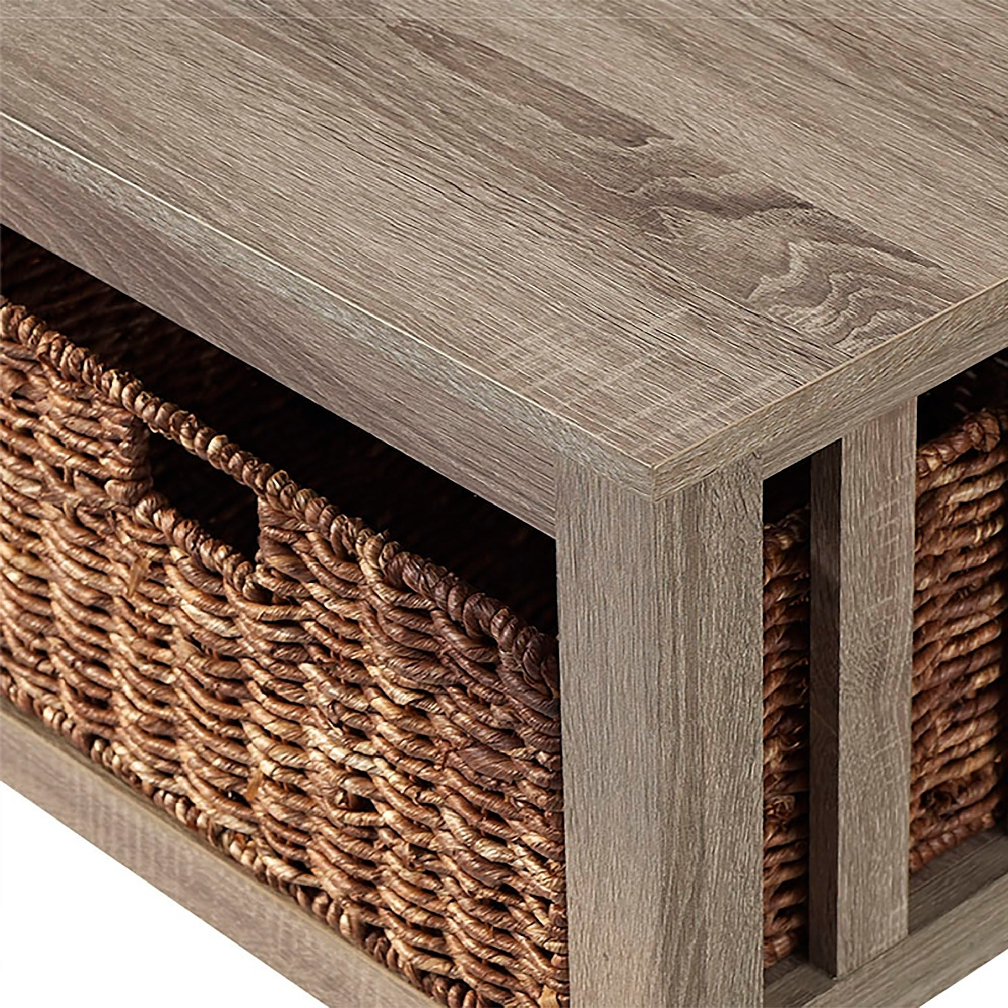 Most Current Rustic Coffee Tables With Wicker Storage Baskets Regarding Middlebrook Designs 40 Inch Coffee Table With Wicker Storage Baskets, Driftwood, Rustic Living Room Table – 40 X 22 X 18h (View 4 of 20)