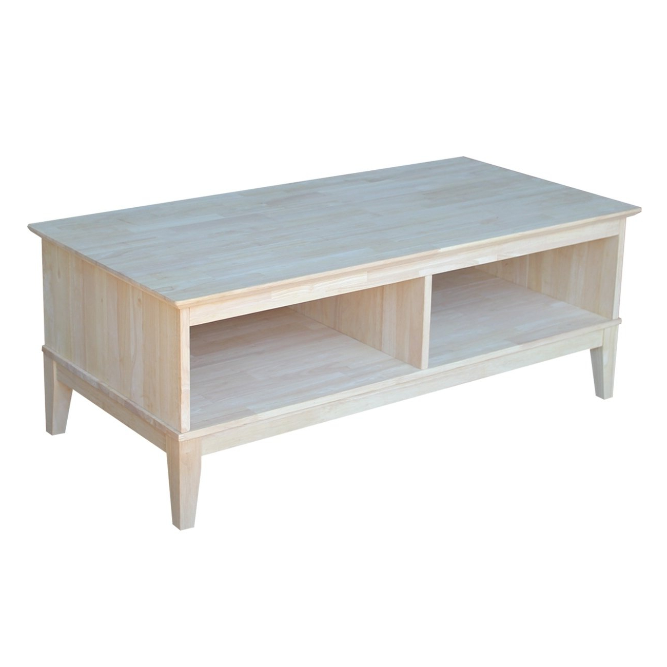 Most Current Shaker Unfinished Solid Parawood Tall Coffee Tables Within Shaker Coffee Table – Includes Divider, Unfinished (View 12 of 20)