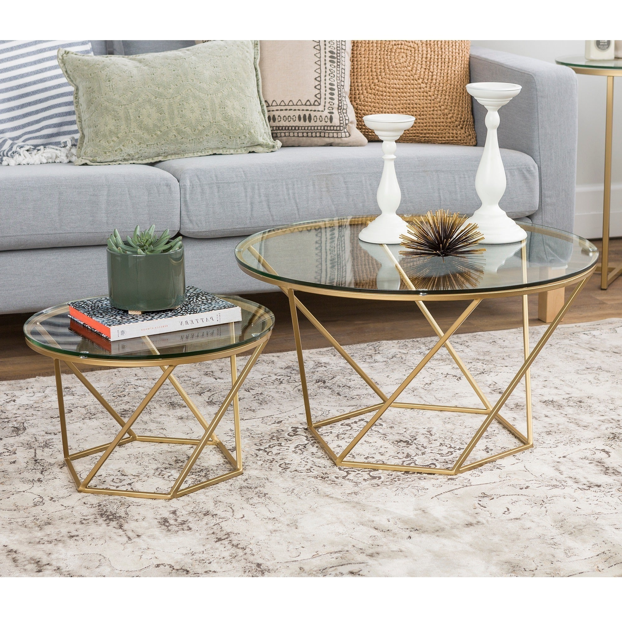 Most Current Silver Orchid Grant Glam Nesting Cocktail Tables With Regard To Silver Orchid Grant Round Glass Nesting Coffee Table Set – (View 8 of 20)
