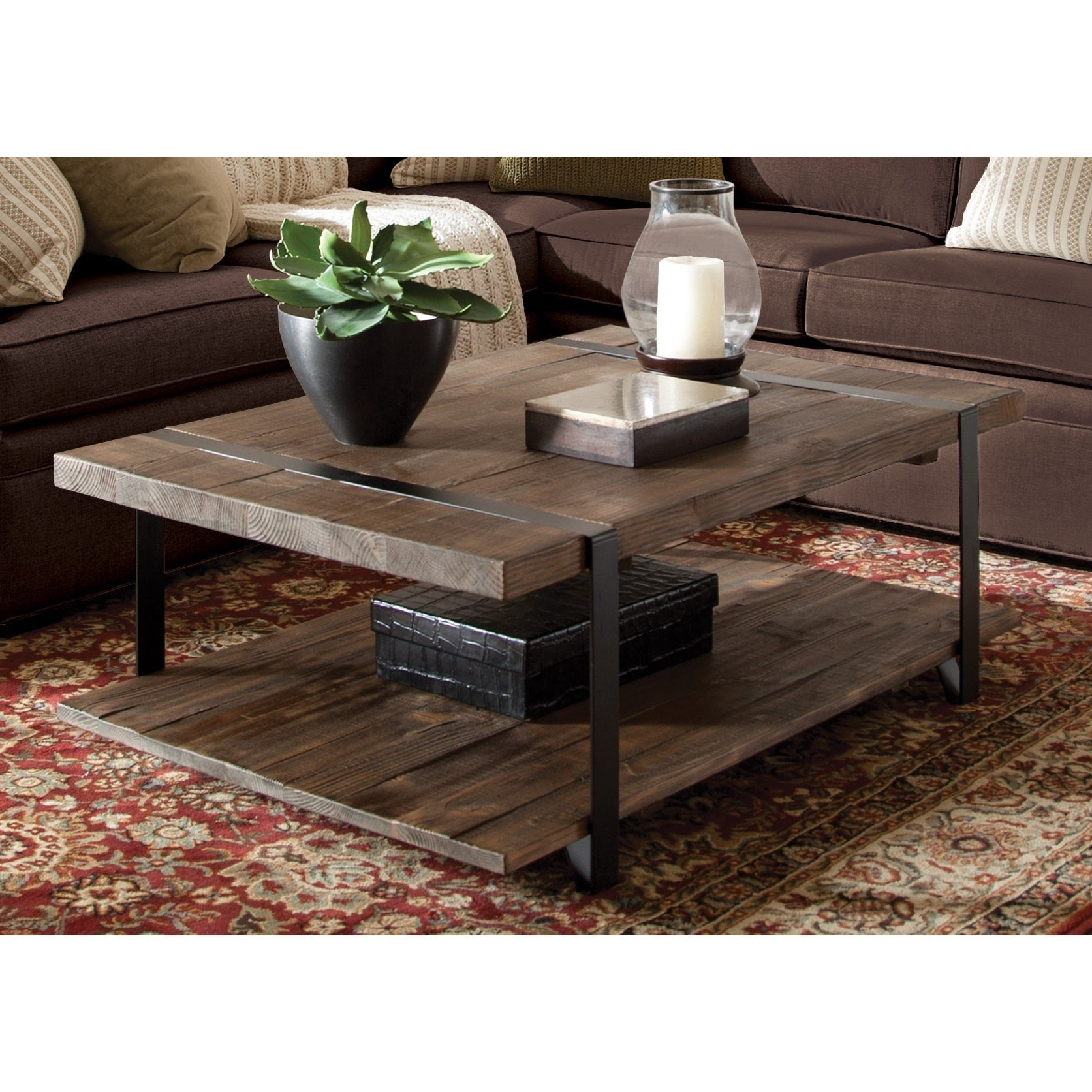 Most Popular Carbon Loft Kenyon Cube Brown Wood Rustic Coffee Tables Throughout Carbon Loft Kenyon Natural Finished Reclaimed Wood Large Coffee Table (View 14 of 20)