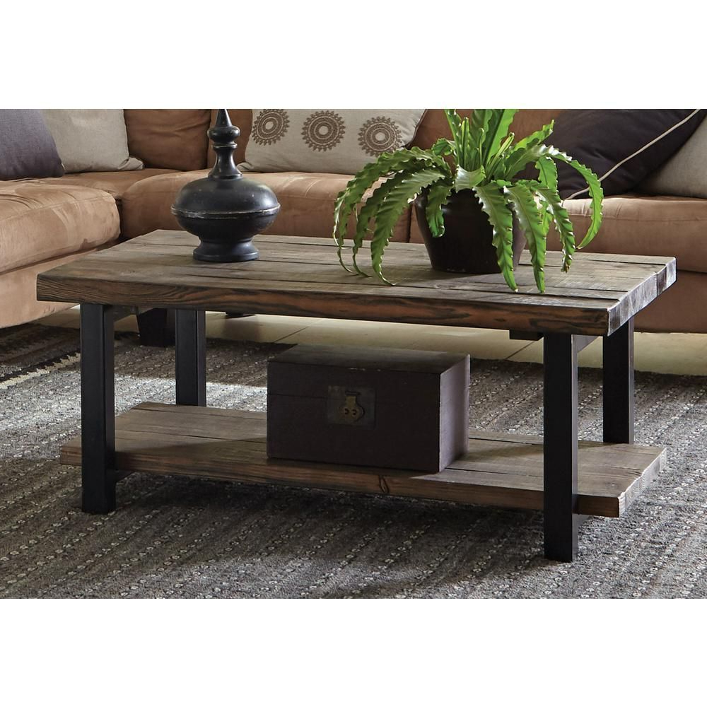 Most Popular Carbon Loft Oliver Modern Rustic Natural Fir Coffee Tables Regarding Alaterre Furniture Pomona Rustic Natural Coffee Table (View 10 of 20)
