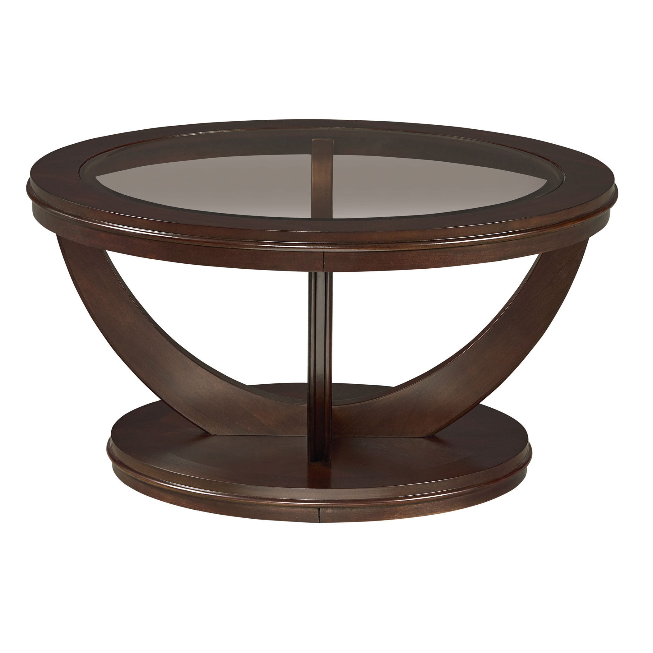 Most Popular Copper Grove Halesia Chocolate Bronze Round Coffee Tables Regarding La Jolla Brown Veneer Round Cocktail Table With Glass Top (View 6 of 20)