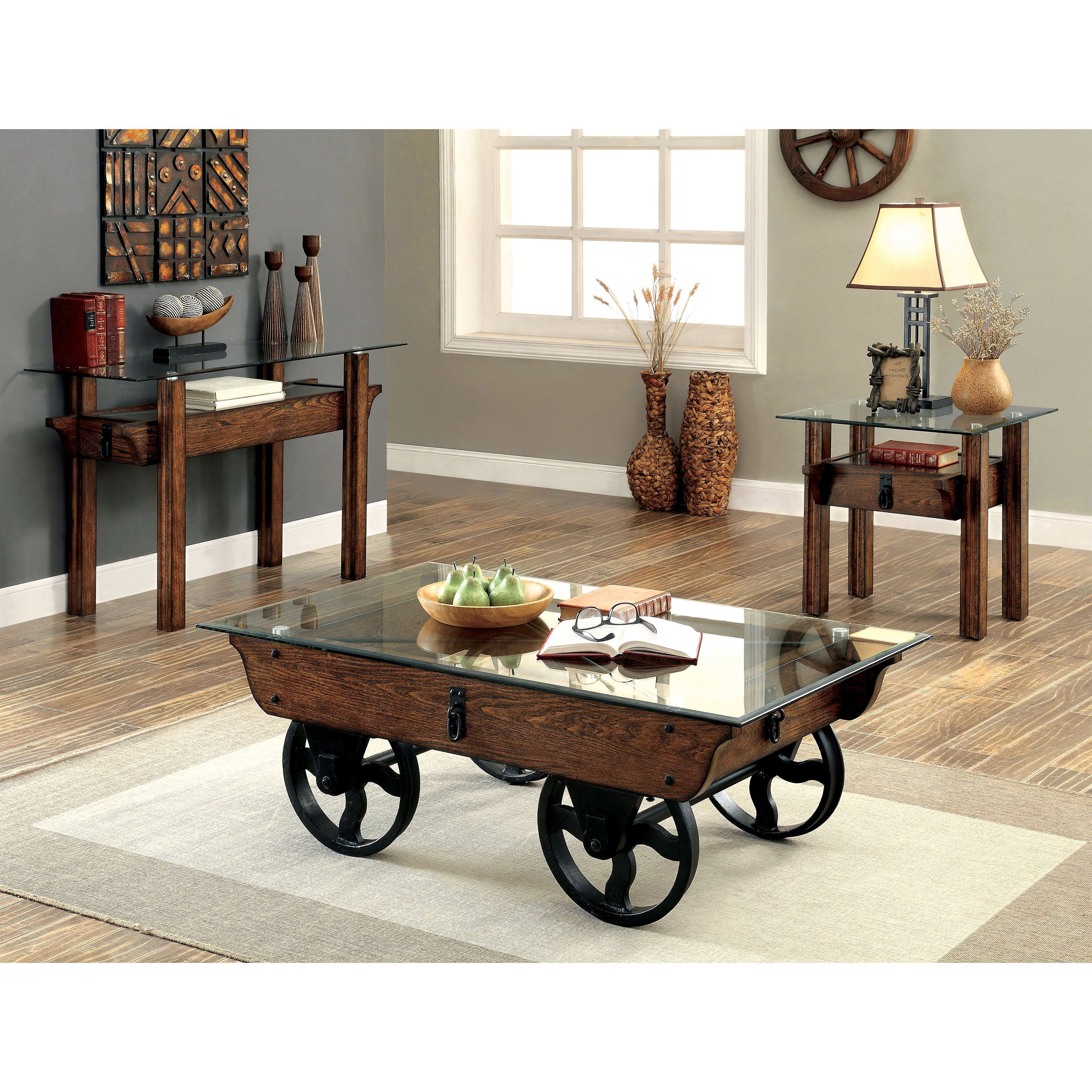 Most Popular Furniture Of America Charlotte Weathered Oak Glass Top Coffee Tables Regarding Furniture Of America Charlotte Rustic 3 Piece Glass Top (View 14 of 20)