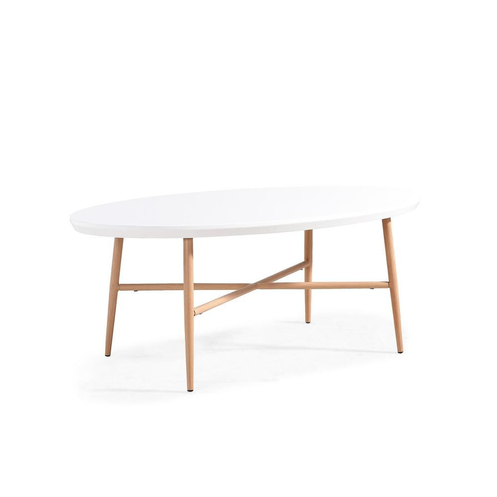 Most Popular Handy Living Miami White Oval Coffee Tables With Brown Metal Legs In Handy Living Miami White Oval Cocktail Table With Light Oak (View 15 of 20)