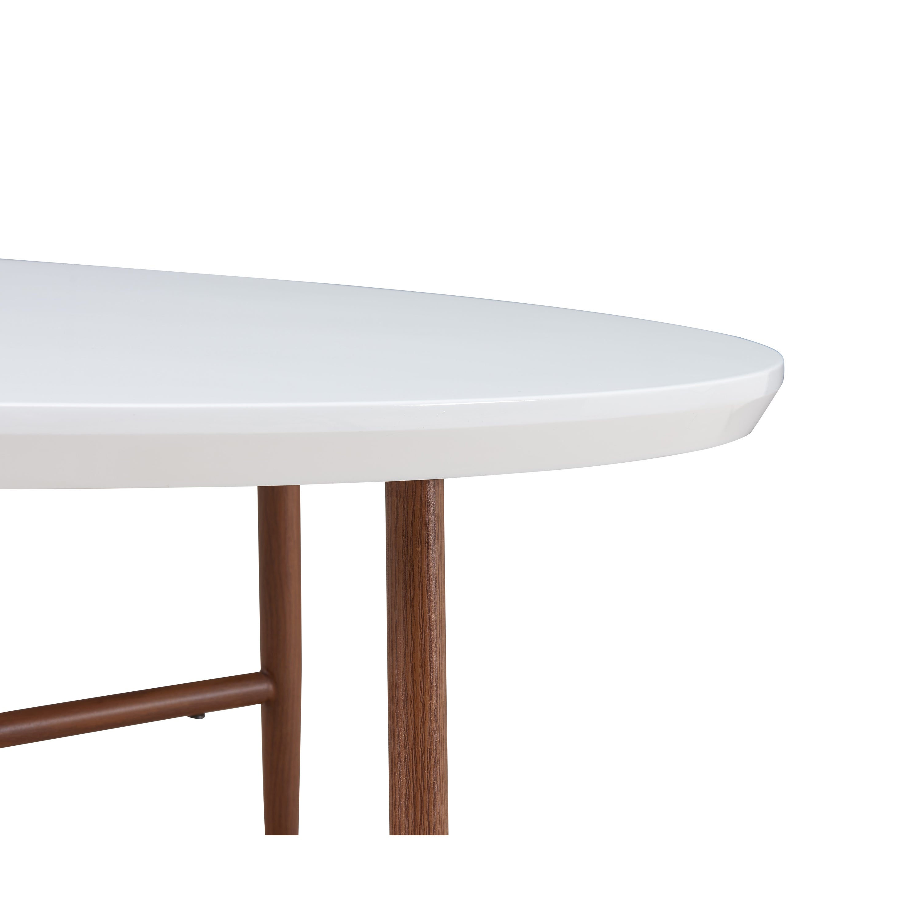 Most Popular Handy Living Miami White Oval Coffee Tables With Brown Metal Legs Pertaining To Handy Living Miami White Oval Coffee Table With Brown Metal Legs (View 5 of 20)