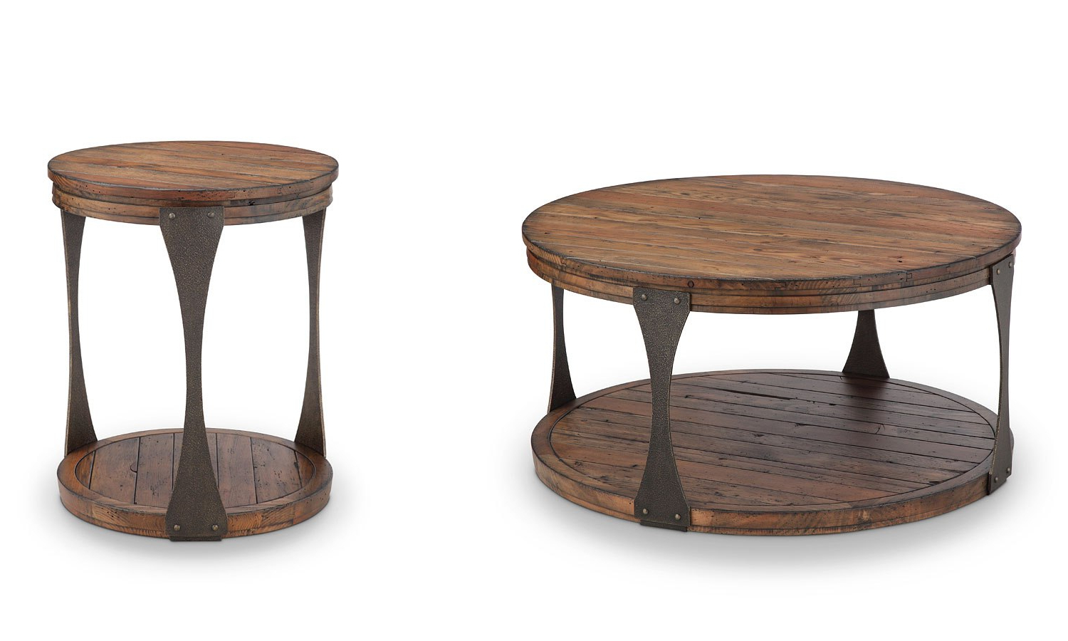 Most Popular Montgomery Industrial Reclaimed Wood Coffee Tables With Casters Inside Montgomery Round Occasional Table Set (View 12 of 20)