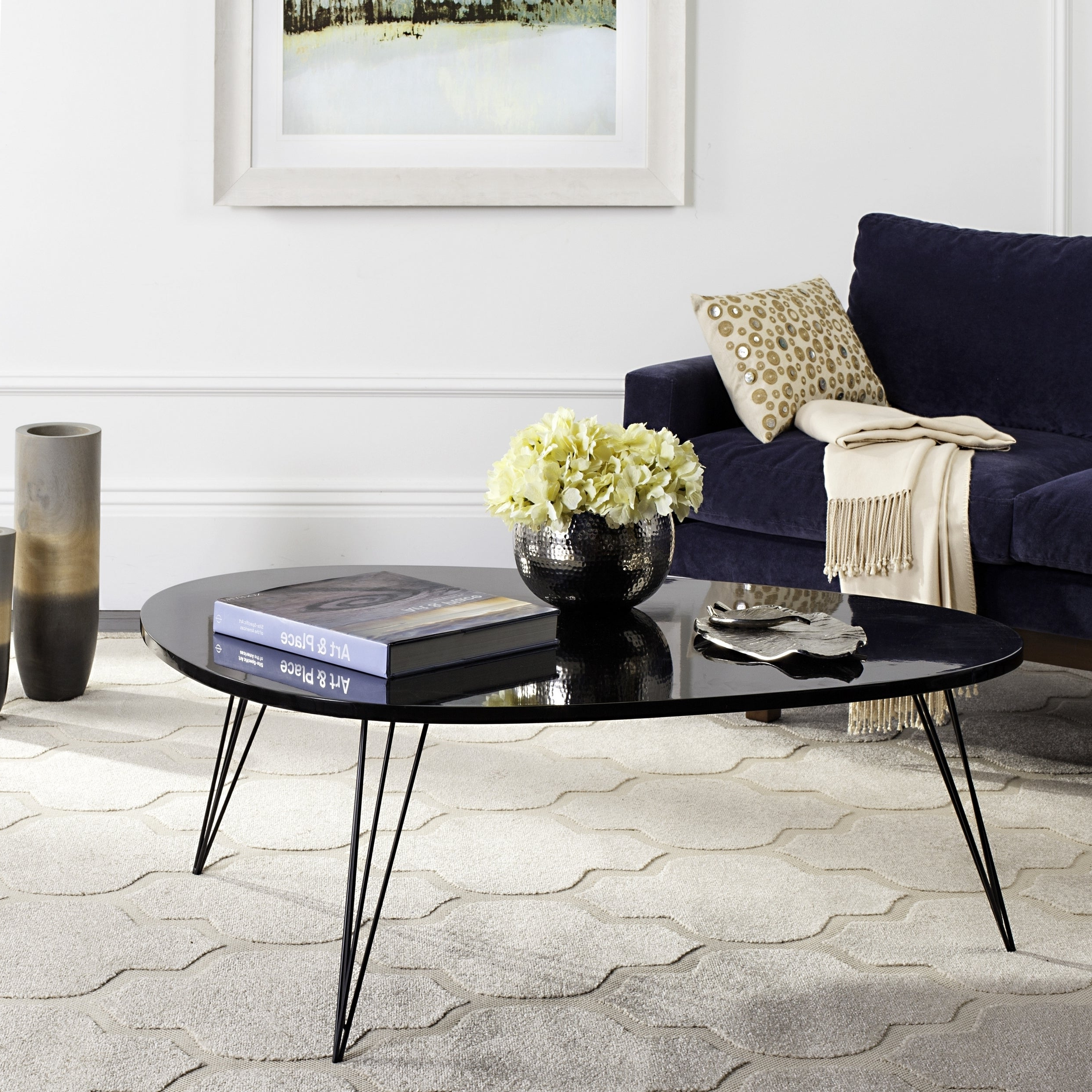 Featured Photo of Safavieh Mid Century Wynton White Black Lacquer Modern Coffee Tables
