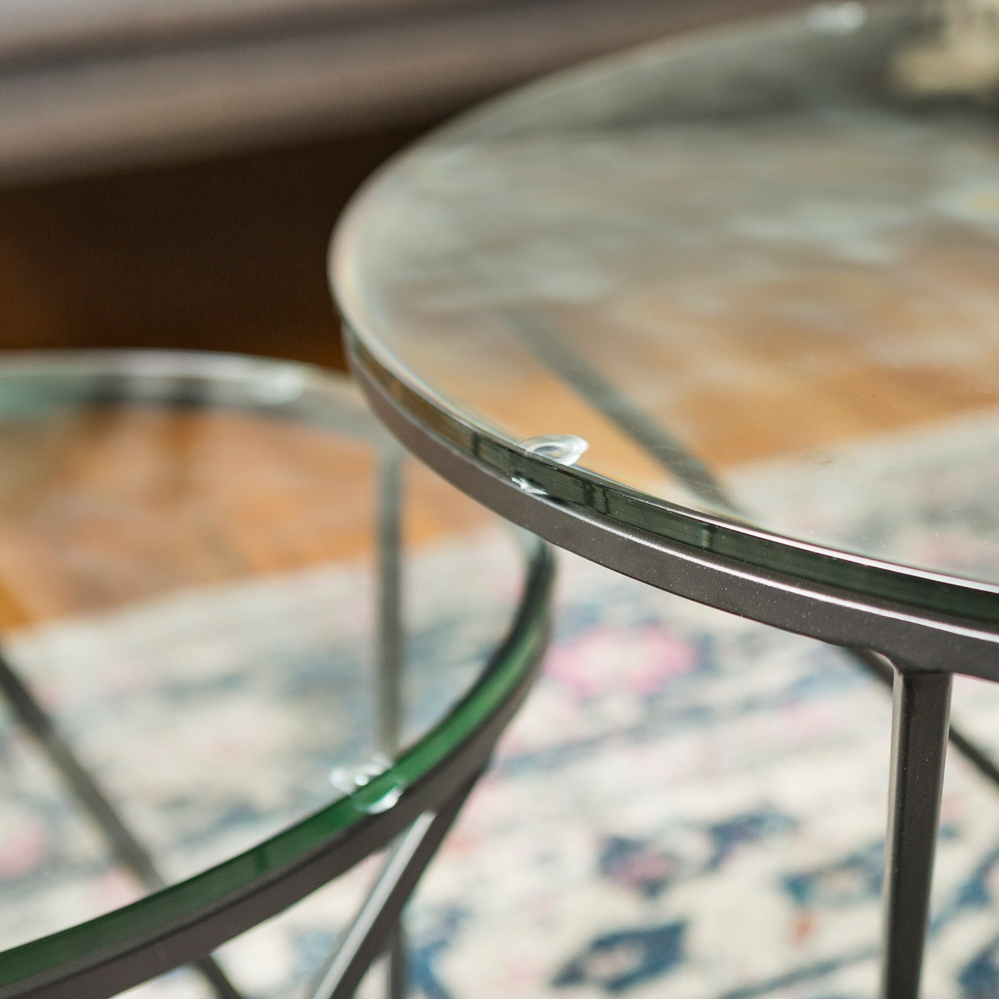 Most Popular Silver Orchid Grant Glam Nesting Cocktail Tables In Silver Orchid Grant Round Glass Nesting Coffee Table Set – (View 17 of 20)