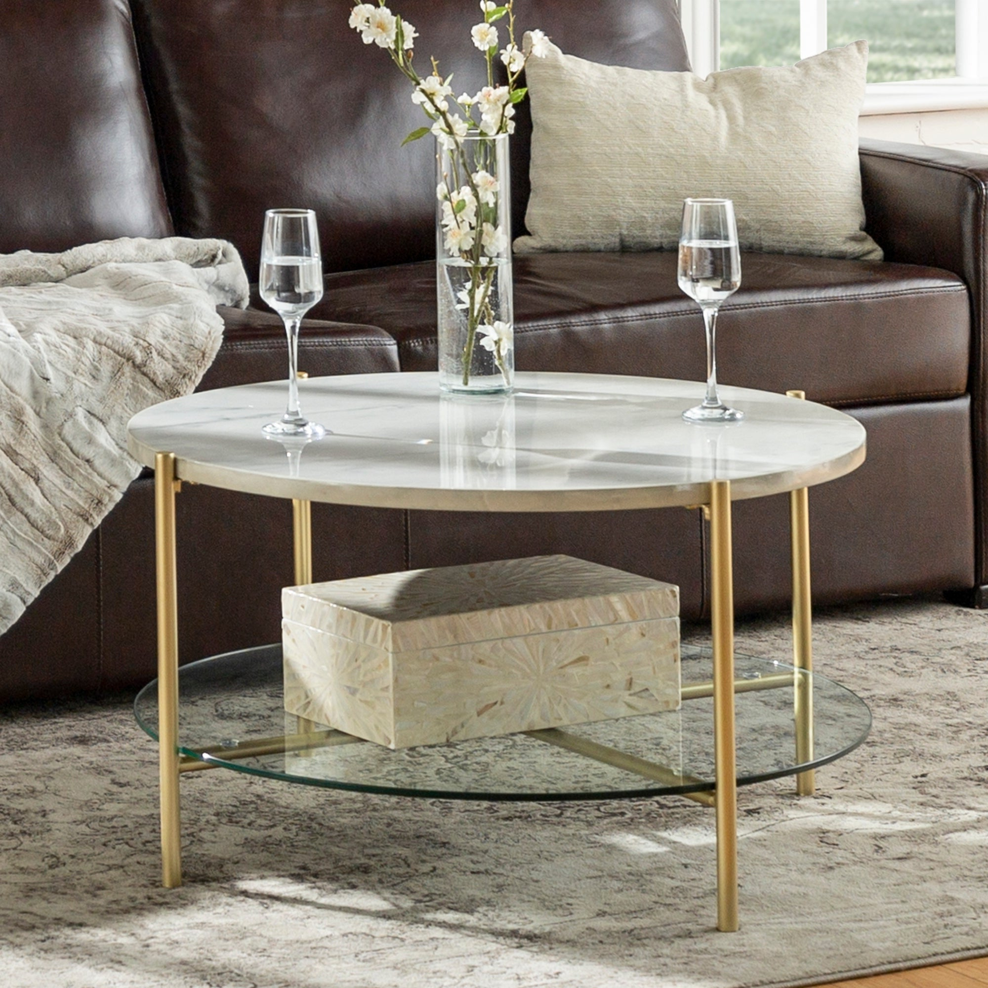 Most Popular Silver Orchid Ipsen Round Coffee Tables With X Base With Silver Orchid 32 Inch Ipsen Round Coffee Table, Modern, Faux Marble Accent Cocktail Table For Living Room – 32 X 32 X 17h (View 12 of 20)