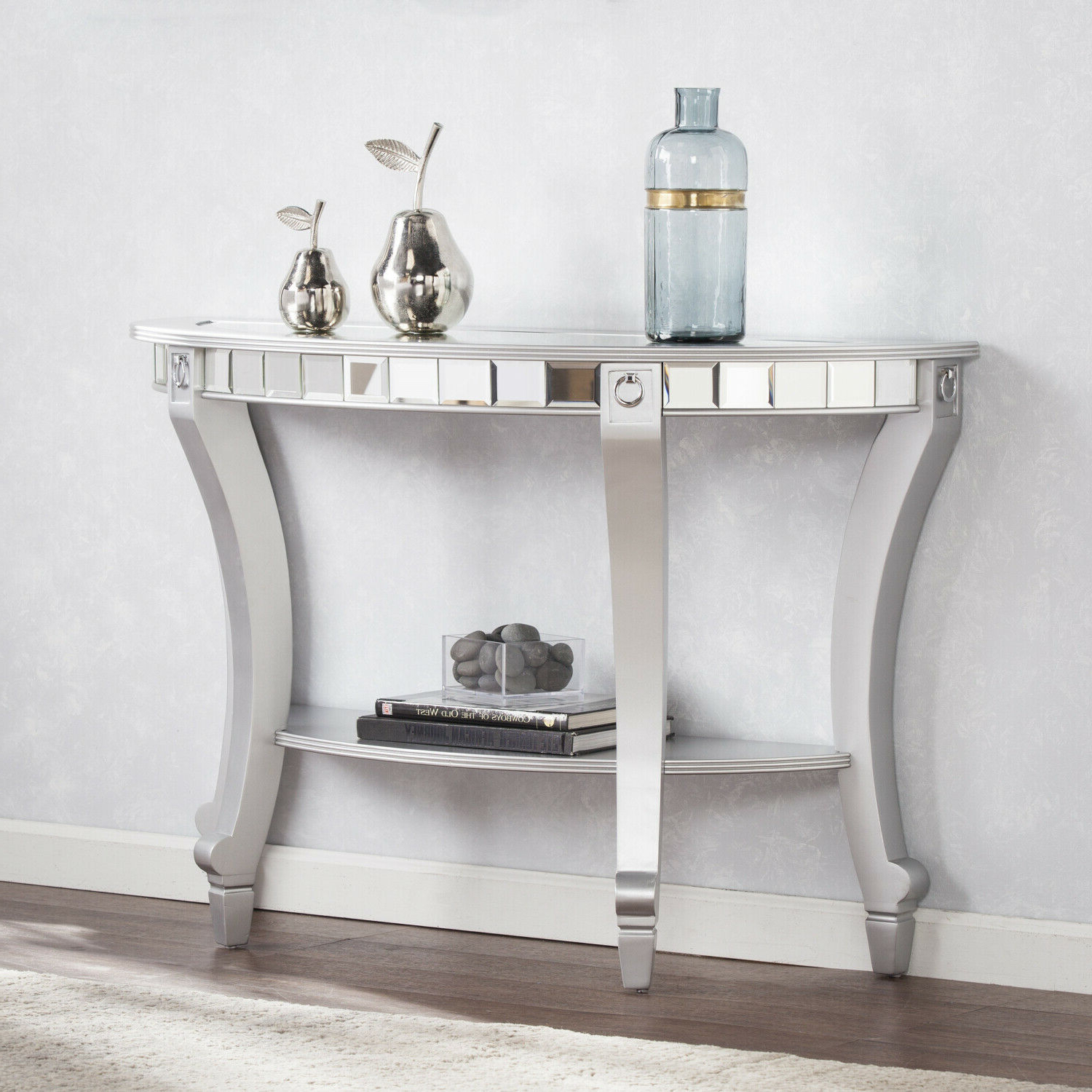 Most Popular Silver Orchid Olivia Chrome Mirrored Coffee Cocktail Tables In Olivia Glam Mirrored Demilune Console Table – Matte Silver (View 11 of 20)