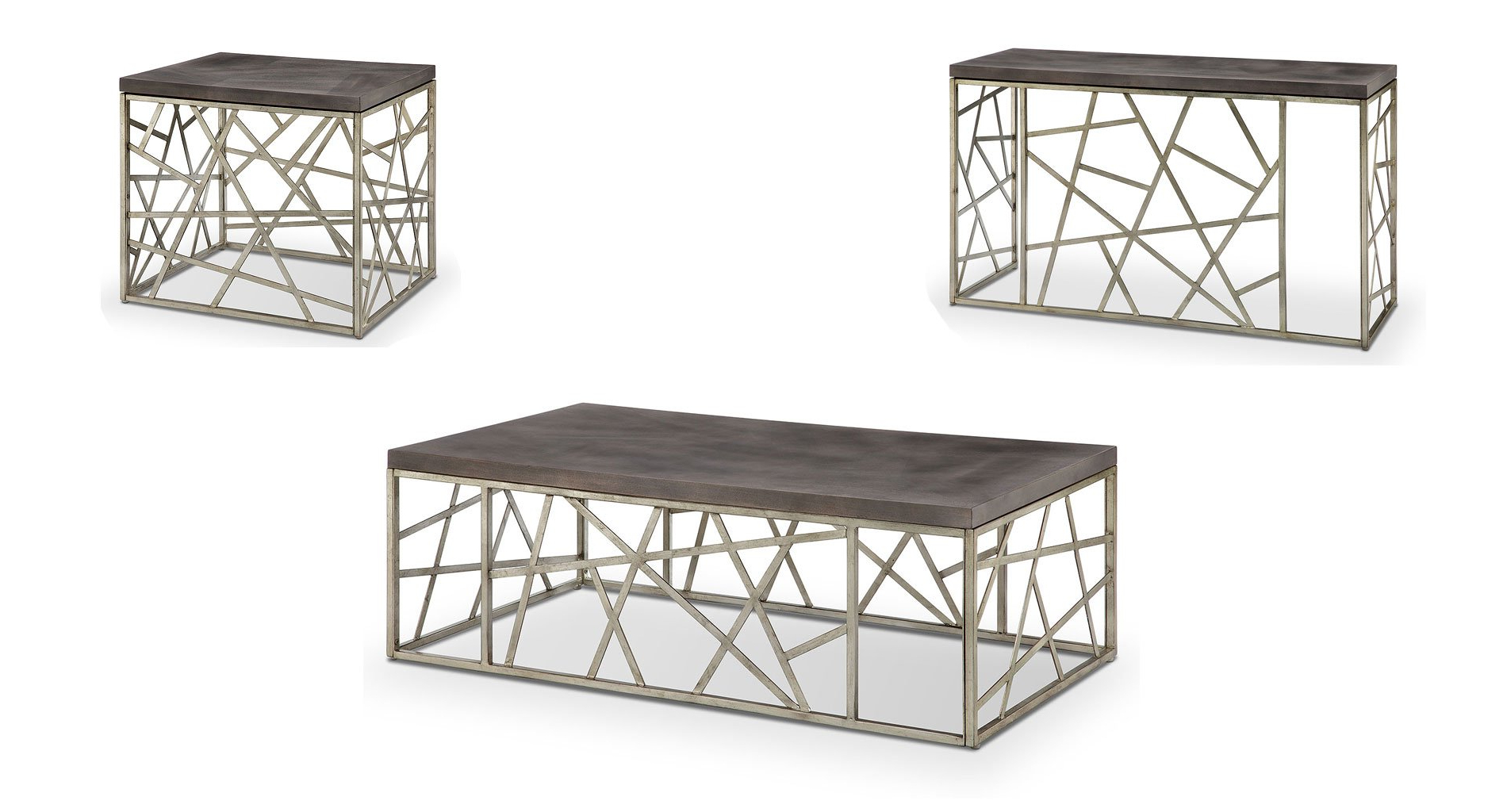 Most Popular Tribeca Contemporary Distressed Silver And Smoke Grey Coffee Tables For Tribeca Rectangular Occasional Table Set (View 8 of 20)