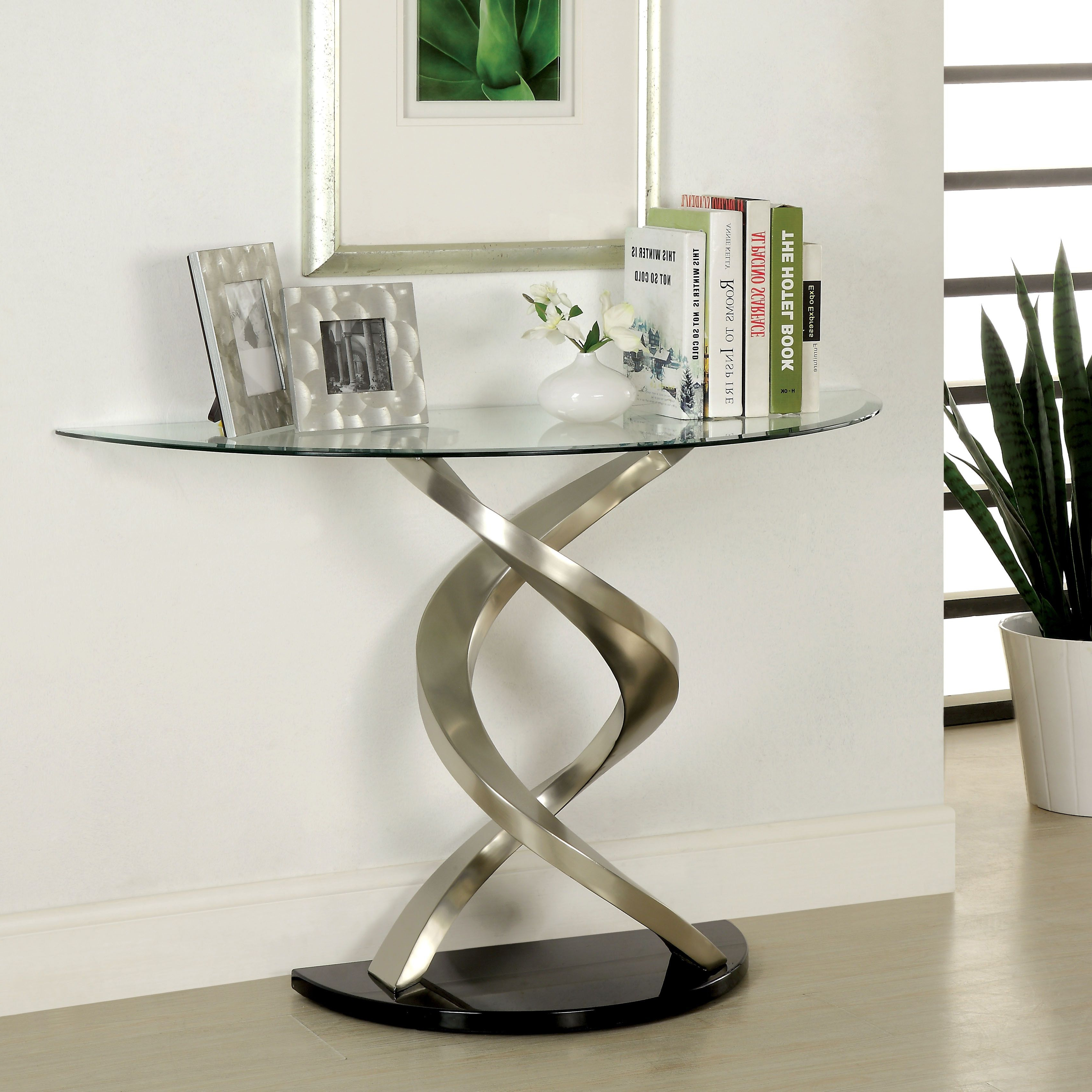 Most Popular Velma Modern Satin Plated Coffee Tables Throughout Furniture Of America Helena Modern Satin Plated Sofa Table (View 6 of 20)