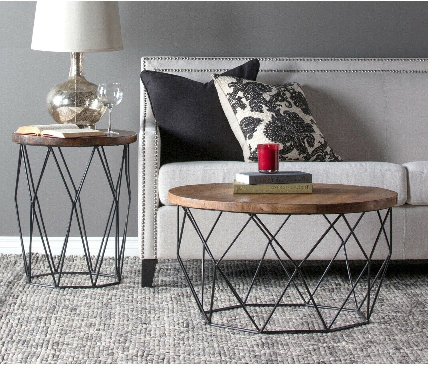 Most Recent Burnham Reclaimed Wood And Iron Round Coffee Tables Regarding Chester Wood And Iron Geometric Round Side Tablekosas Home (View 14 of 20)