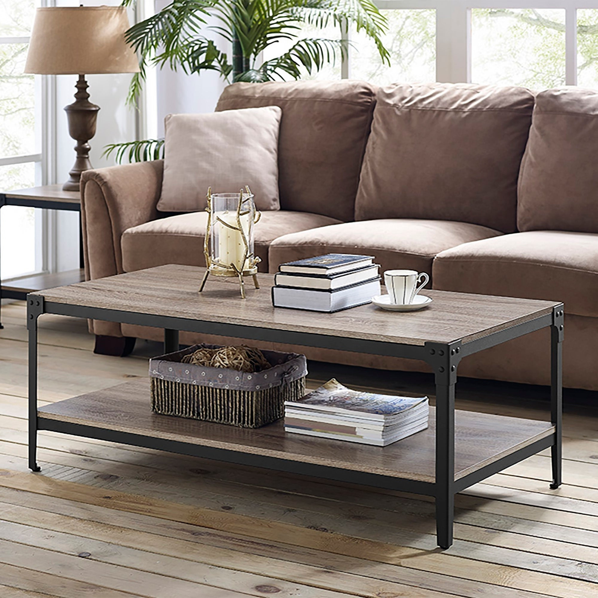 Featured Photo of Carbon Loft Witten Angle Iron And Driftwood Coffee Tables