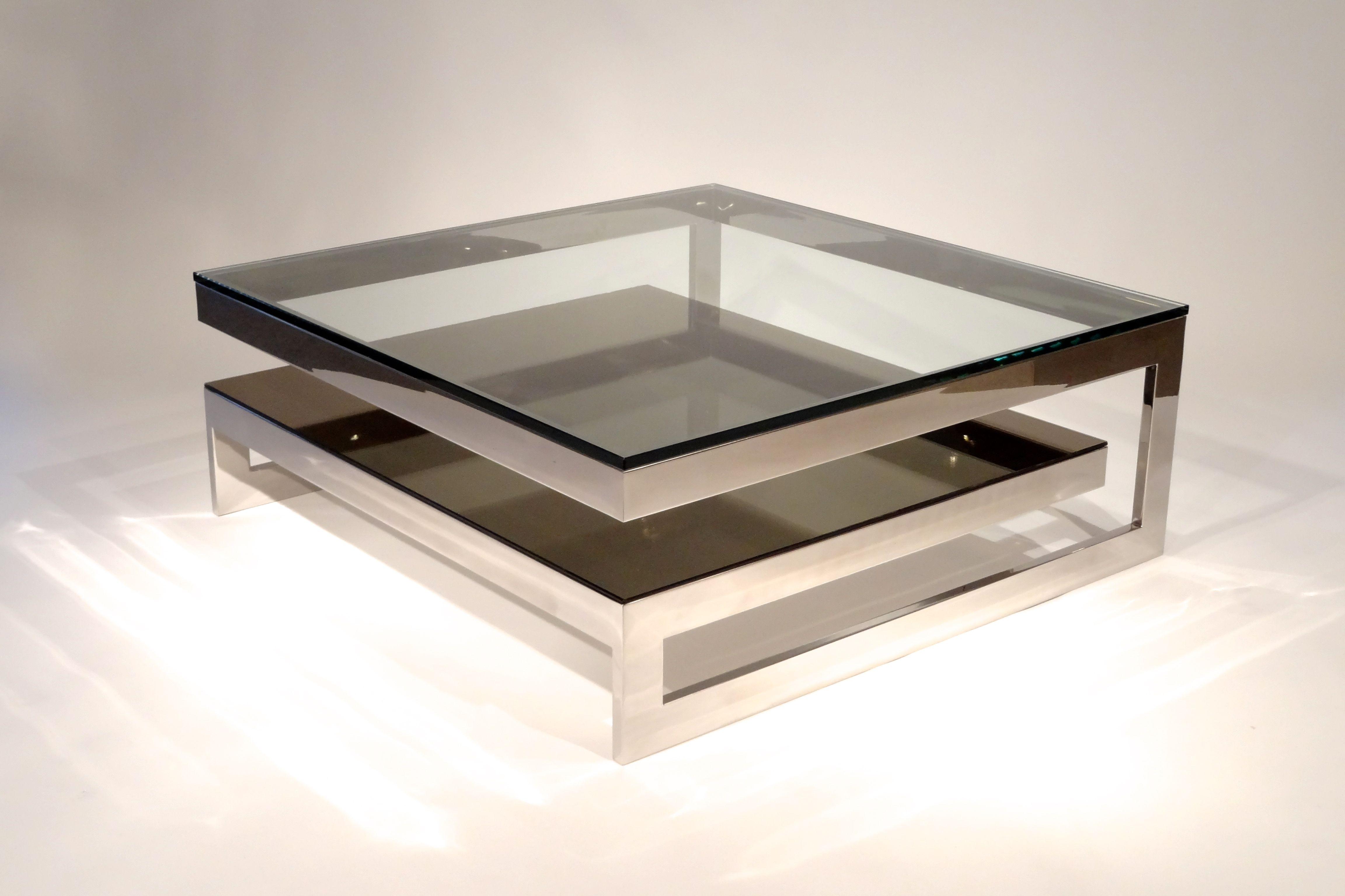 Most Recent Contemporary Chrome Glass Top And Mirror Shelf Coffee Tables Intended For 48 Awesome Unique Glass Coffee Tables Ideas (View 11 of 20)