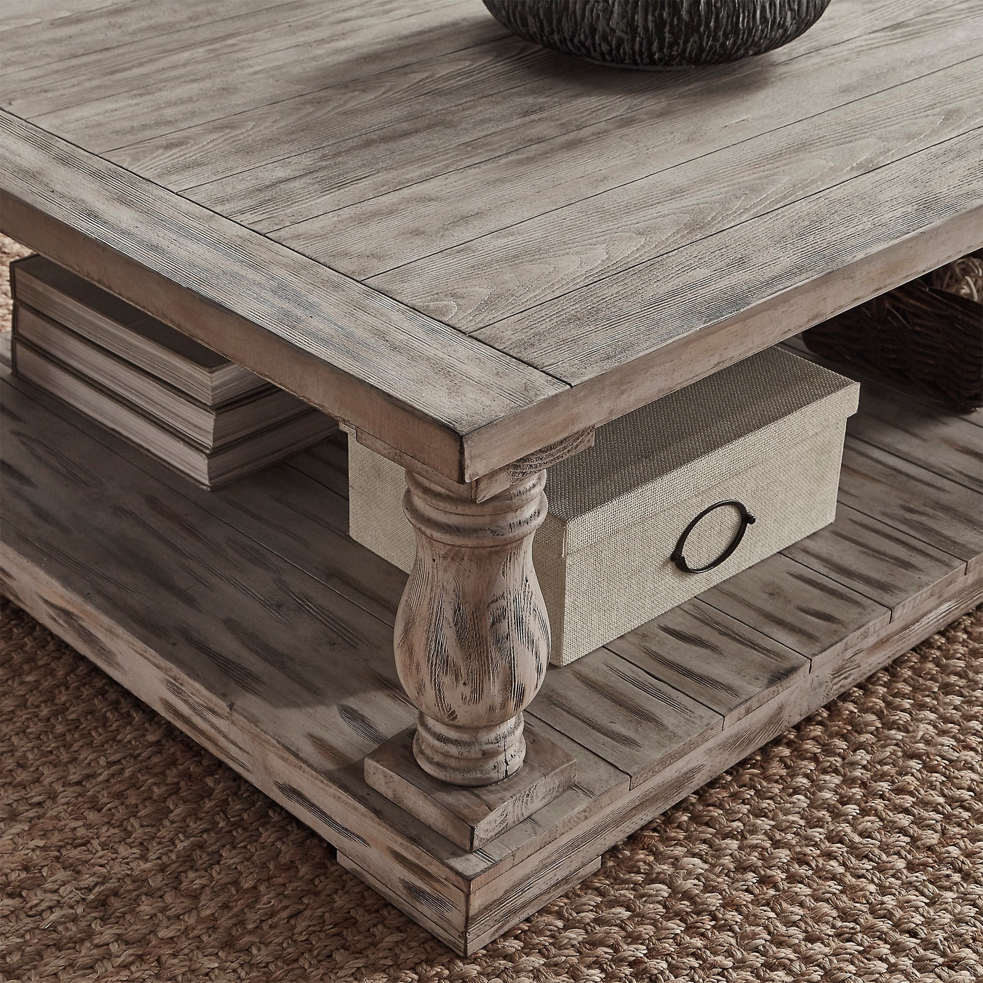 Most Recent Edmaire Rustic Pine Baluster Coffee Tables Regarding Signal Hills Edmaire Rustic Baluster 60 Inch Coffee Table (View 14 of 20)