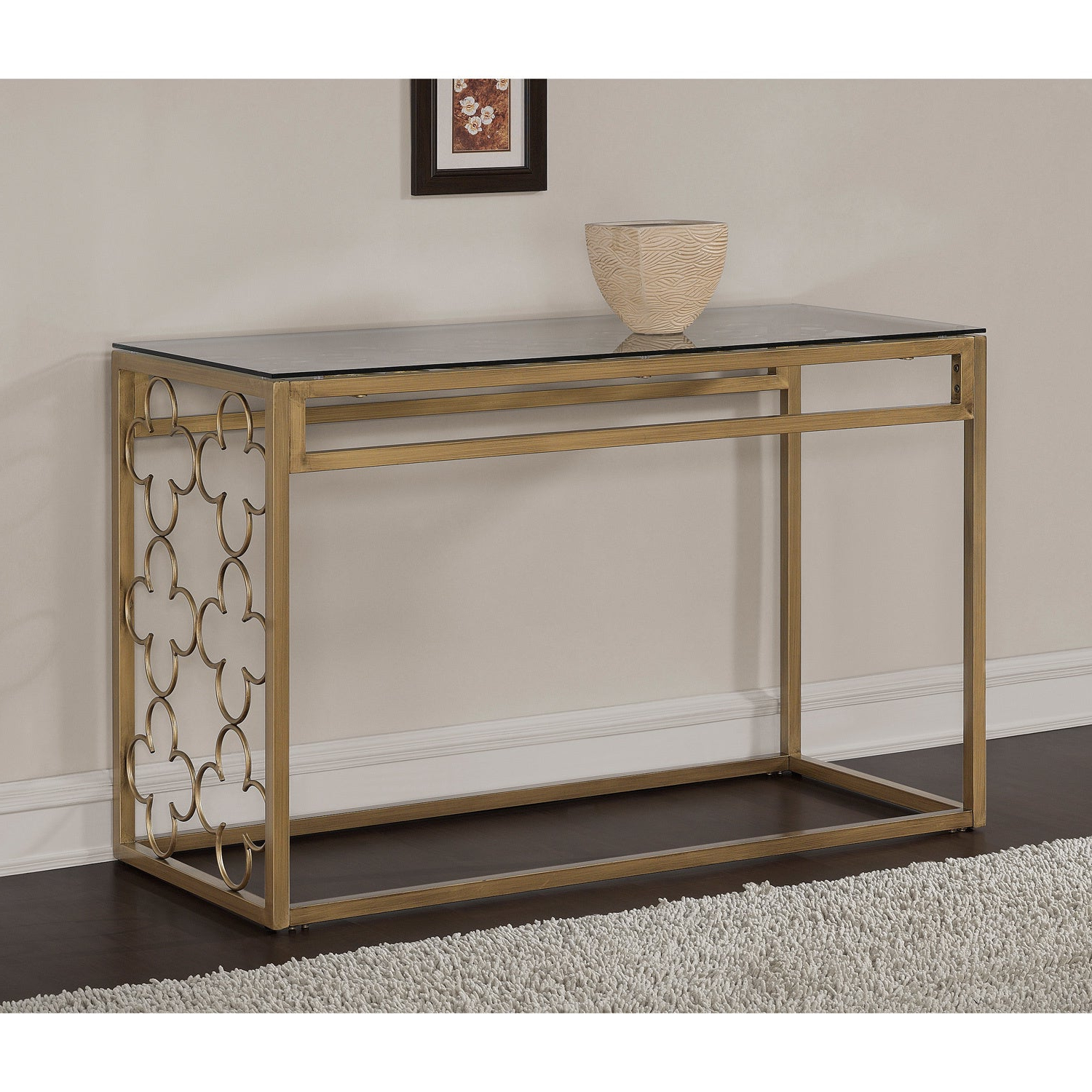 Most Recent The Curated Nomad Quatrefoil Goldtone Metal And Glass Coffee Tables Intended For The Curated Nomad Quatrefoil Goldtone Metal And Glass Sofa Table (View 7 of 20)