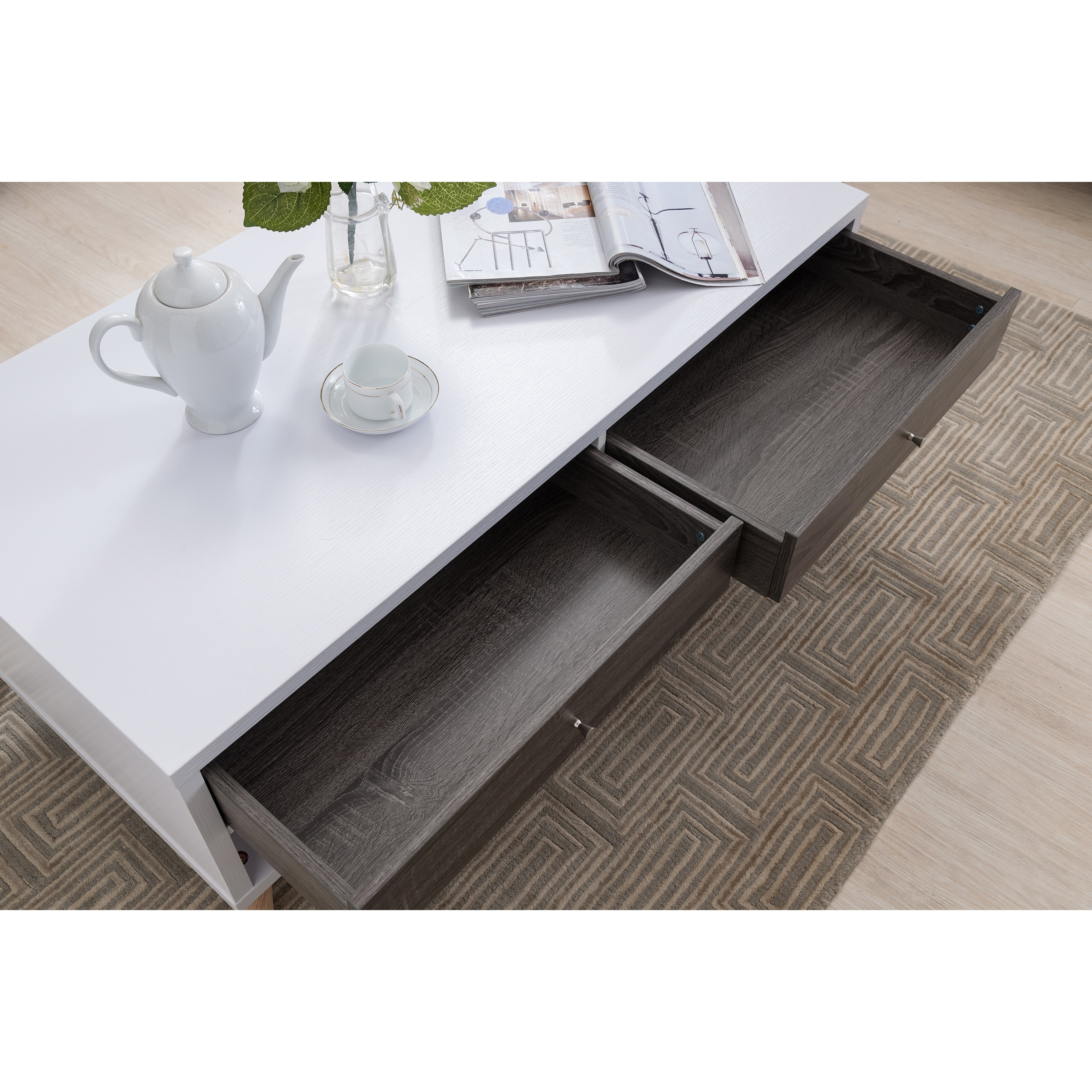 Most Recently Released Arella Ii Modern Distressed Grey White Coffee Tables With Furniture Of America Arella I Mid Century Modern 2 Tone Distressed Grey White Coffee Table (View 4 of 20)