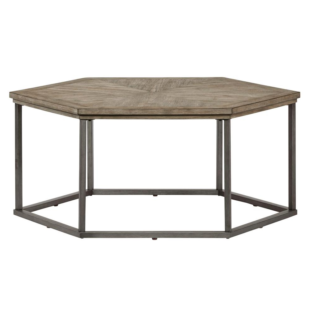 Most Recently Released Paris Natural Wood And Iron 30 Inch Square Coffee Tables Intended For Adison Cove Ash Blonde Hexagon Cocktail Table (View 7 of 20)