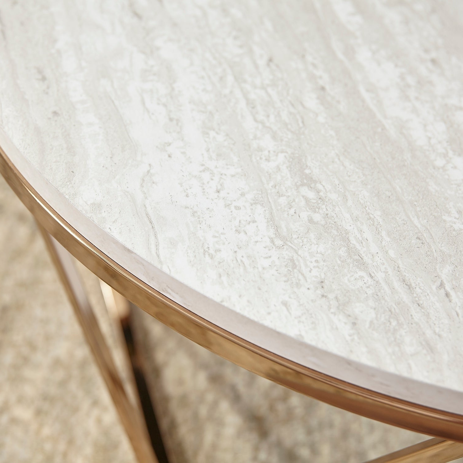 Most Recently Released Silver Orchid Henderson Faux Stone Round End Tables Regarding Silver Orchid Henderson Faux Stone Goldtone Round Coffee Table (View 11 of 20)