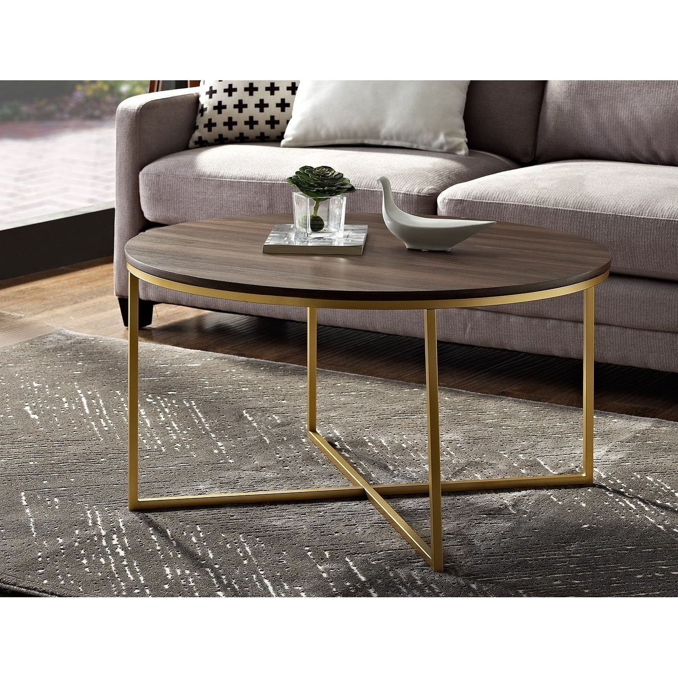 Most Recently Released Silver Orchid Ipsen Round Coffee Tables With X Base In Silver Orchid Ipsen 36 Inch Round Coffee Table With X Base – 36 X 36 X 19h (View 3 of 20)