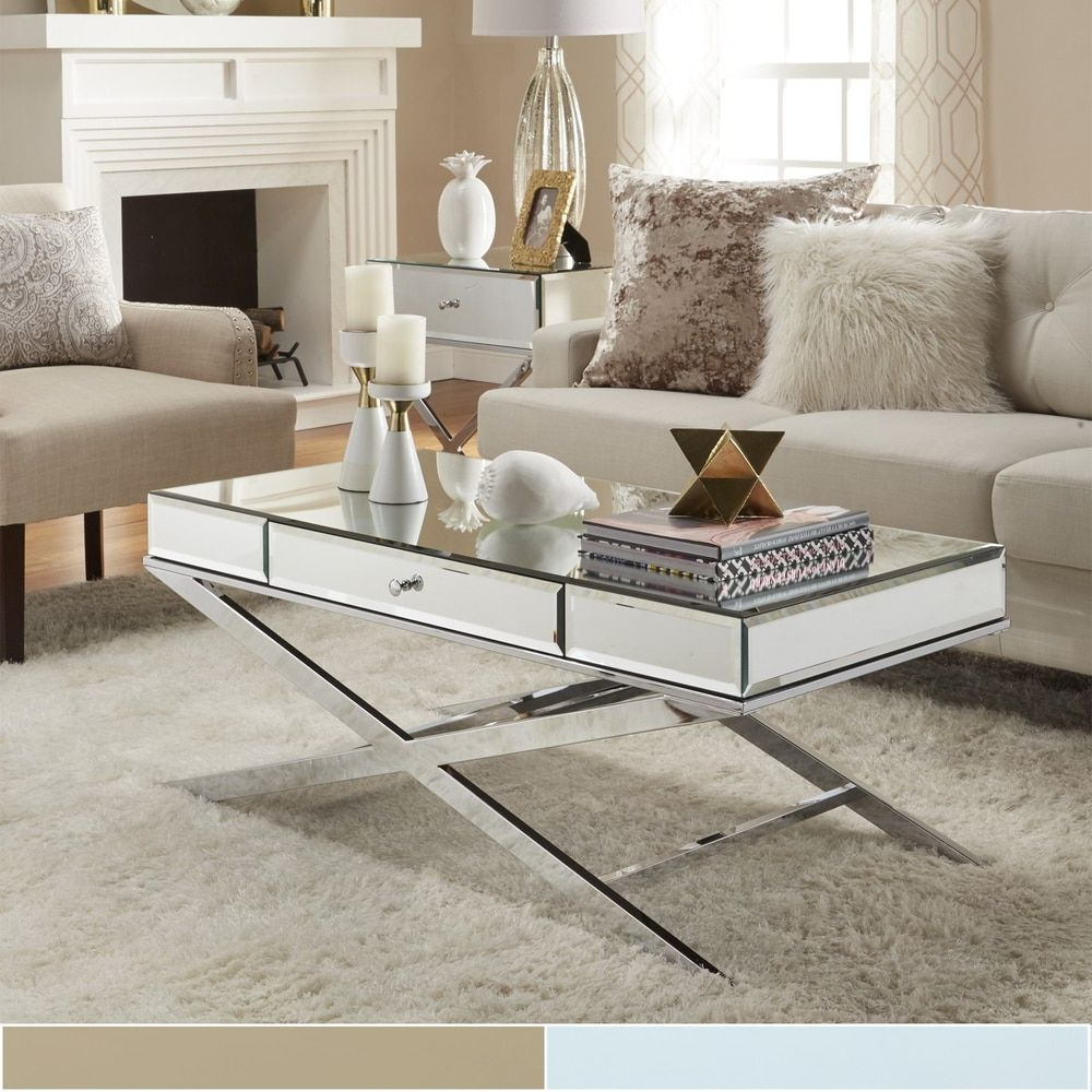 Most Recently Released Silver Orchid Olivia Chrome Mirrored Coffee Cocktail Tables With Regard To Camille X Base Beveled Mirrored 1 Drawer Coffee Table (View 16 of 20)