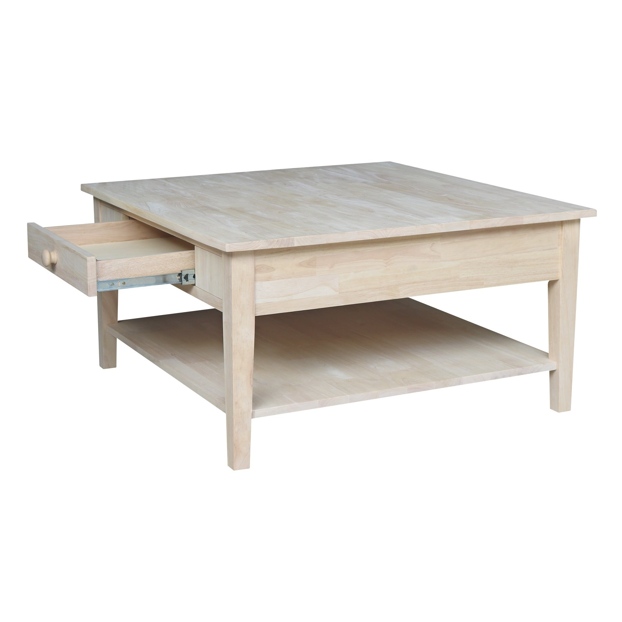 Most Up To Date 'hampton' Unfinished Solid Parawood Square Coffee Tables Pertaining To Spencer Square Coffee Table – Unfinished (View 18 of 20)