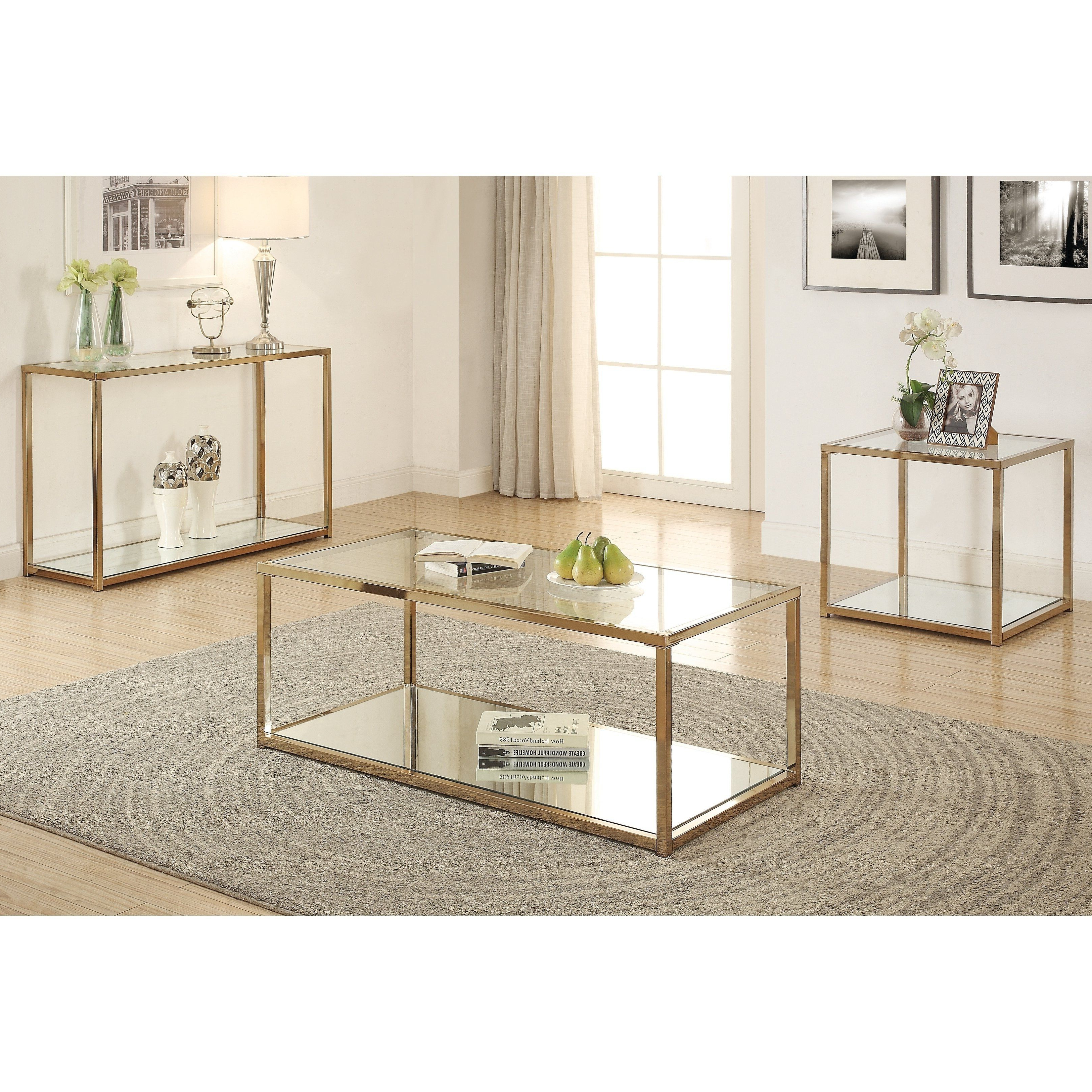 Most Up To Date Contemporary Chrome Glass Top And Mirror Shelf Coffee Tables Intended For Silver Orchid Hartau Modern Chocolate Chrome Finish Coffee (View 12 of 20)