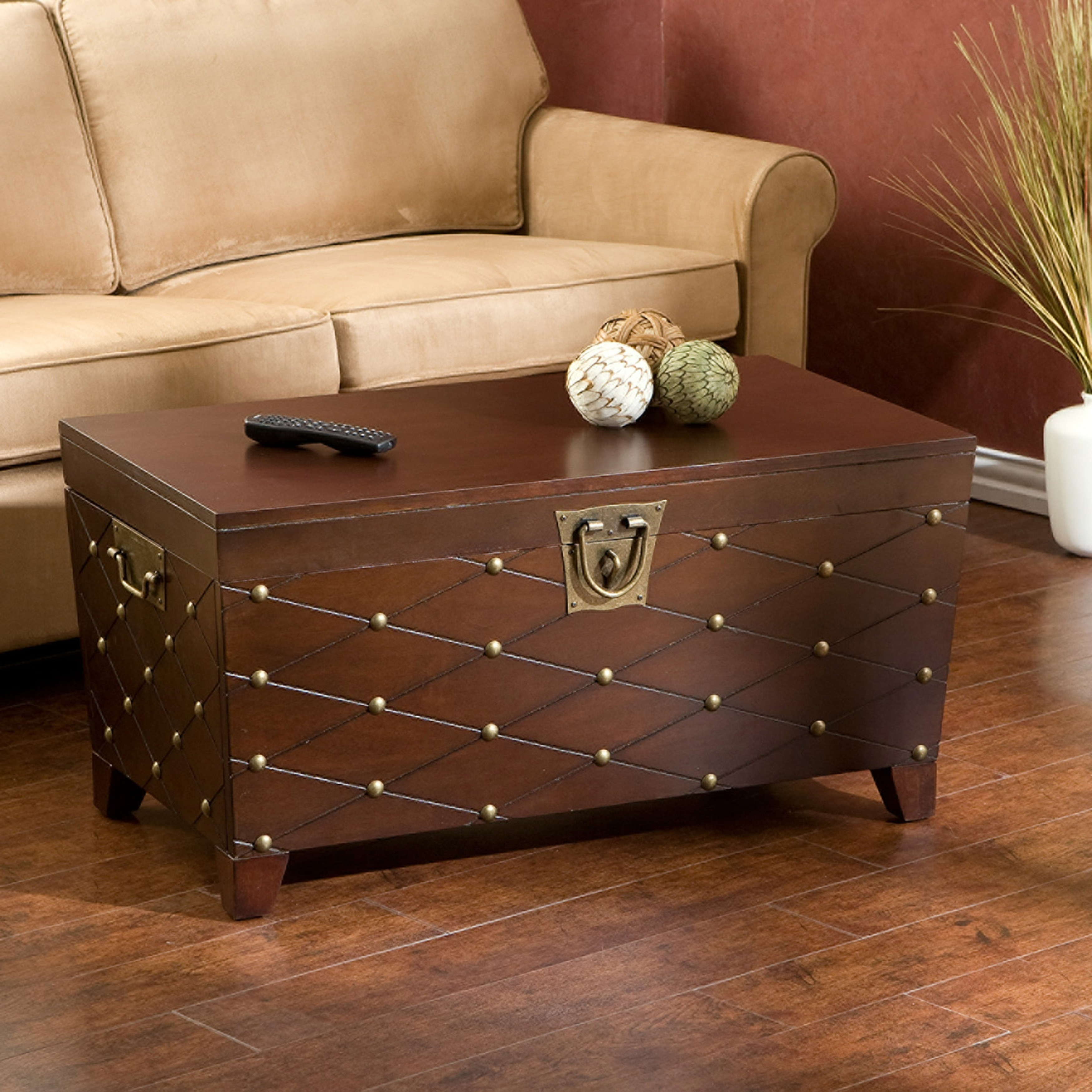 Most Up To Date Copper Grove Liatris Black And Satin Silver Coffee Tables Pertaining To Copper Grove Liatris Nailhead Espresso Cocktail Table Trunk (View 16 of 20)