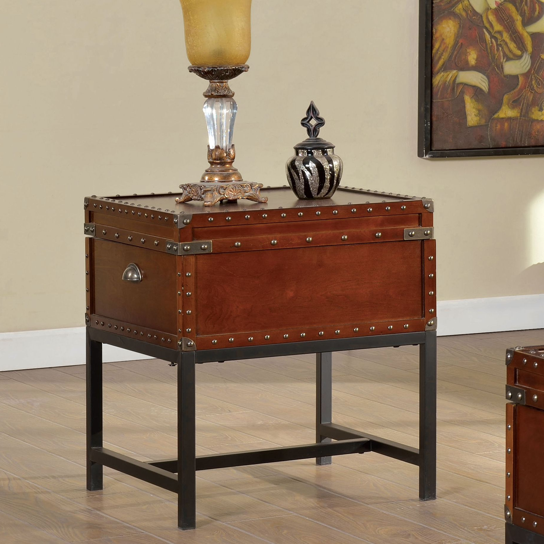 Most Up To Date Dravens Industrial Cherry Coffee Tables For The Curated Nomad Renee Industrial Trunk Style End Table (View 9 of 20)