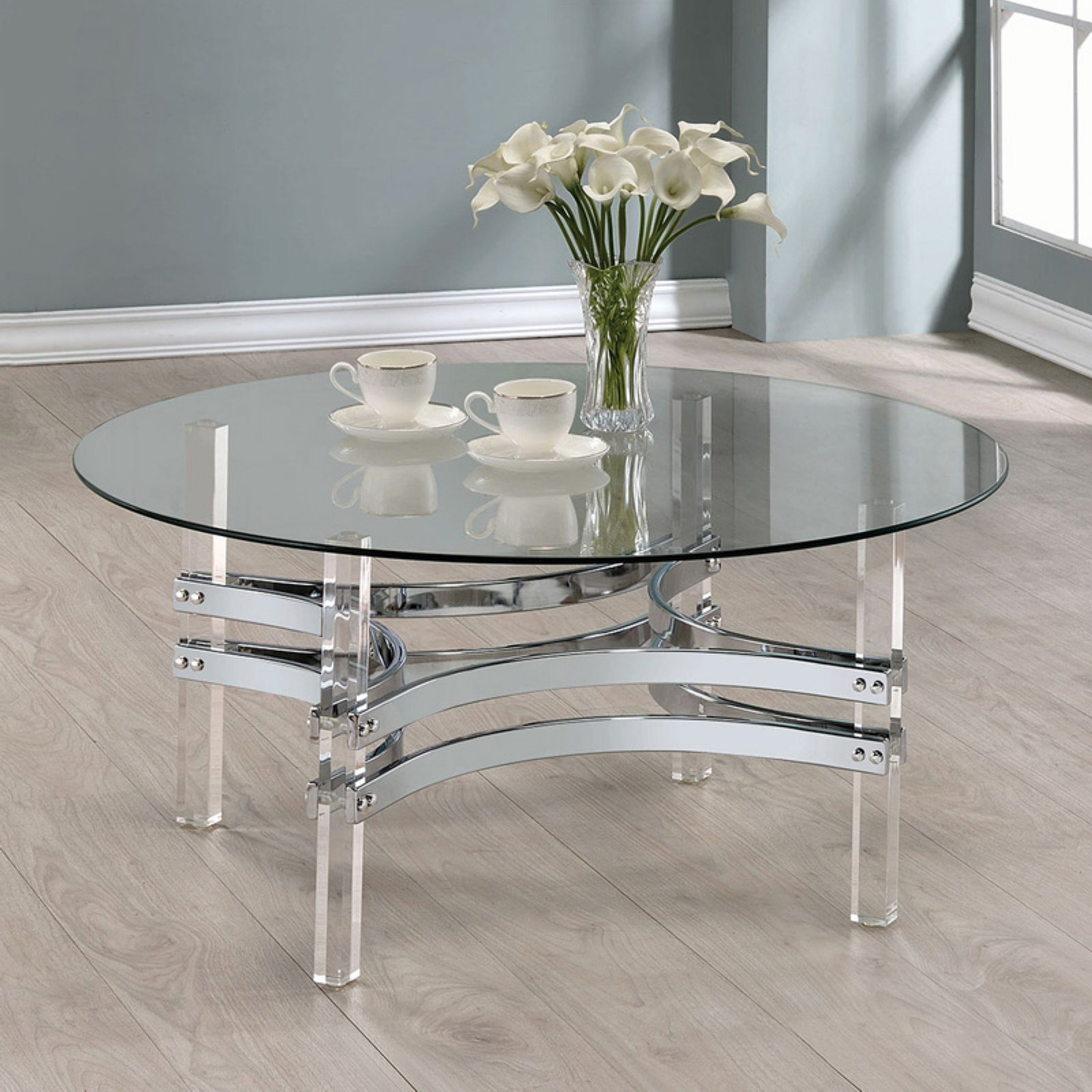 Most Up To Date Elowen Round Glass Coffee Tables Inside Coaster Furniture Round Glass Top Coffee Table – Chrome In (View 14 of 20)