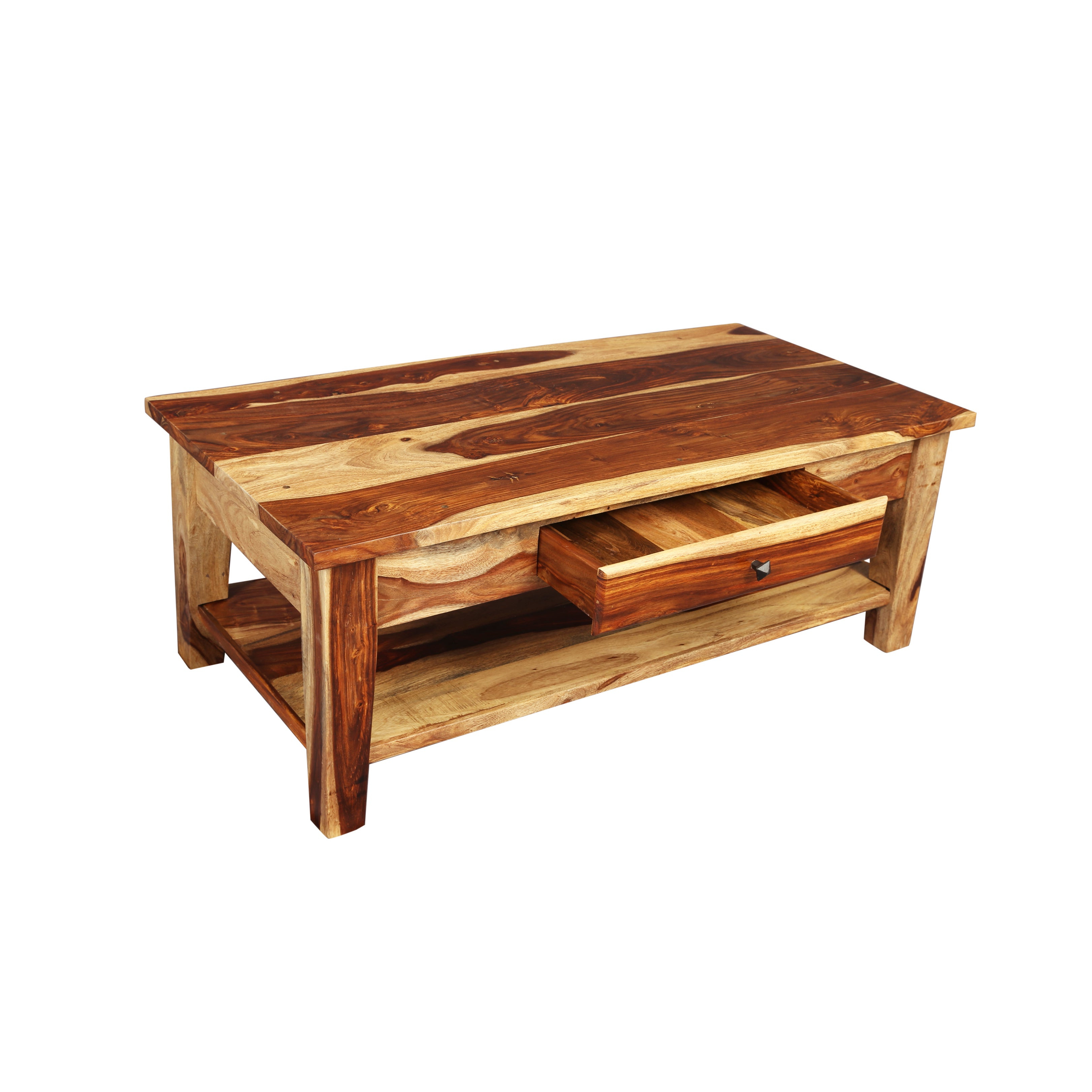 "Most Up To Date Idris Dark Sheesham Solid Wood Coffee Tables Regarding Handmade Porter Taos Solid Sheesham Coffee Table With Storage Drawer (india) – 18""h X 24""w X 48""l (View 9 of 20)"