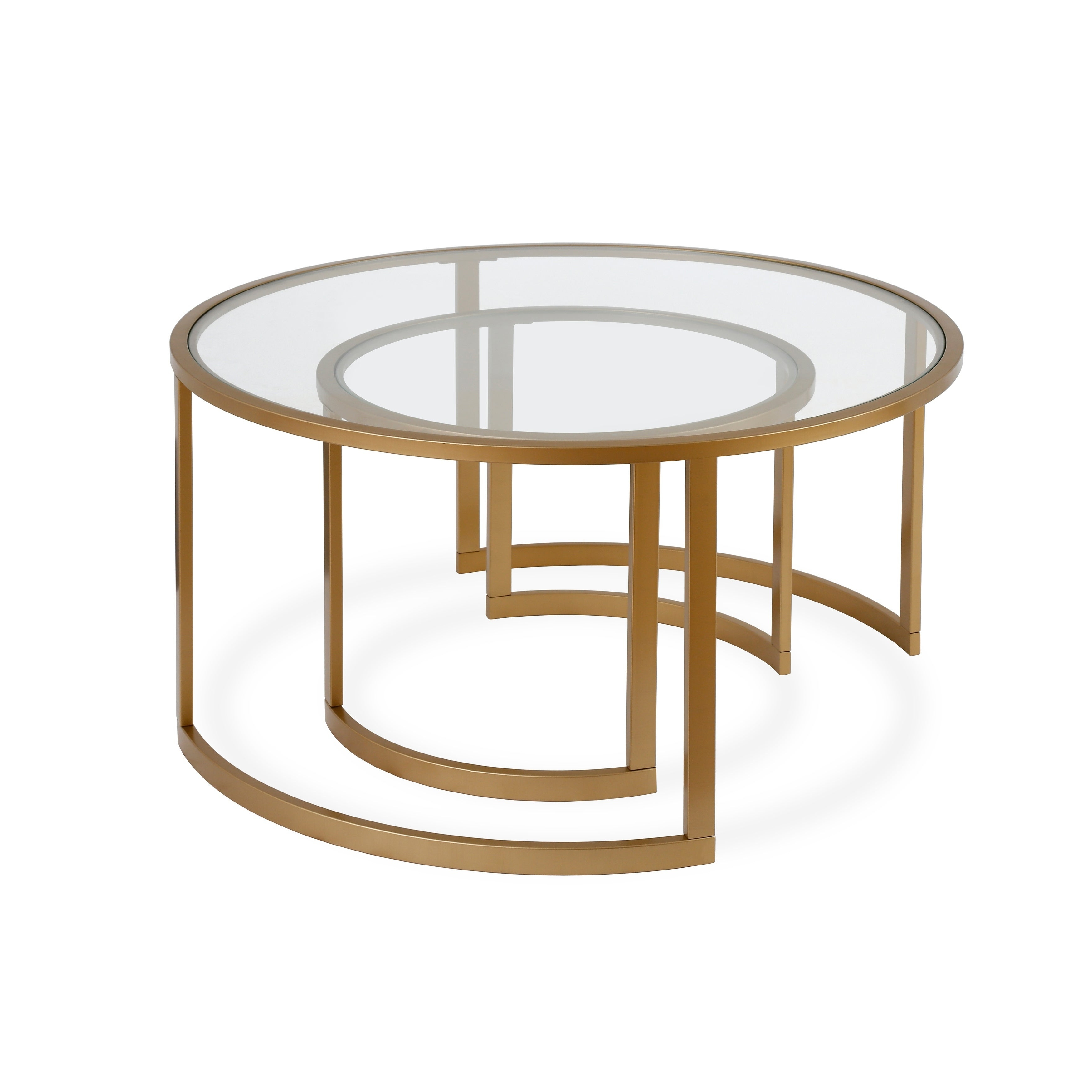 Most Up To Date Mitera Round Metal Glass Nesting Coffee Tables Intended For Mitera Round Metal/glass Nesting Coffee Tables Set Of 2 (Optional Finishes) (View 13 of 20)