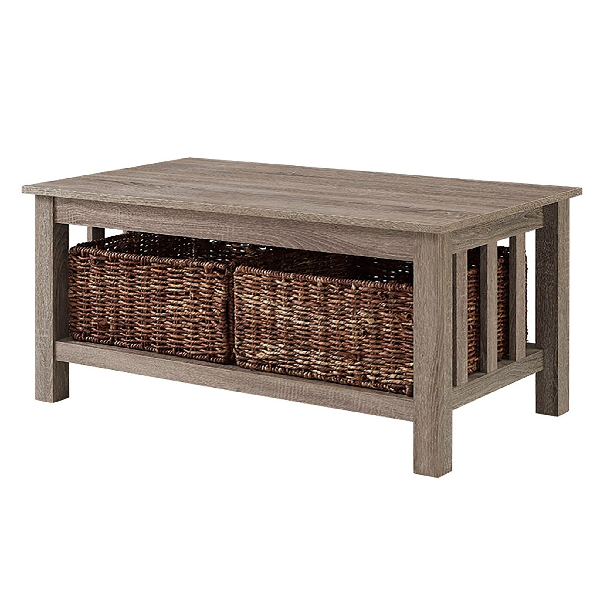 Featured Photo of Rustic Coffee Tables With Wicker Storage Baskets