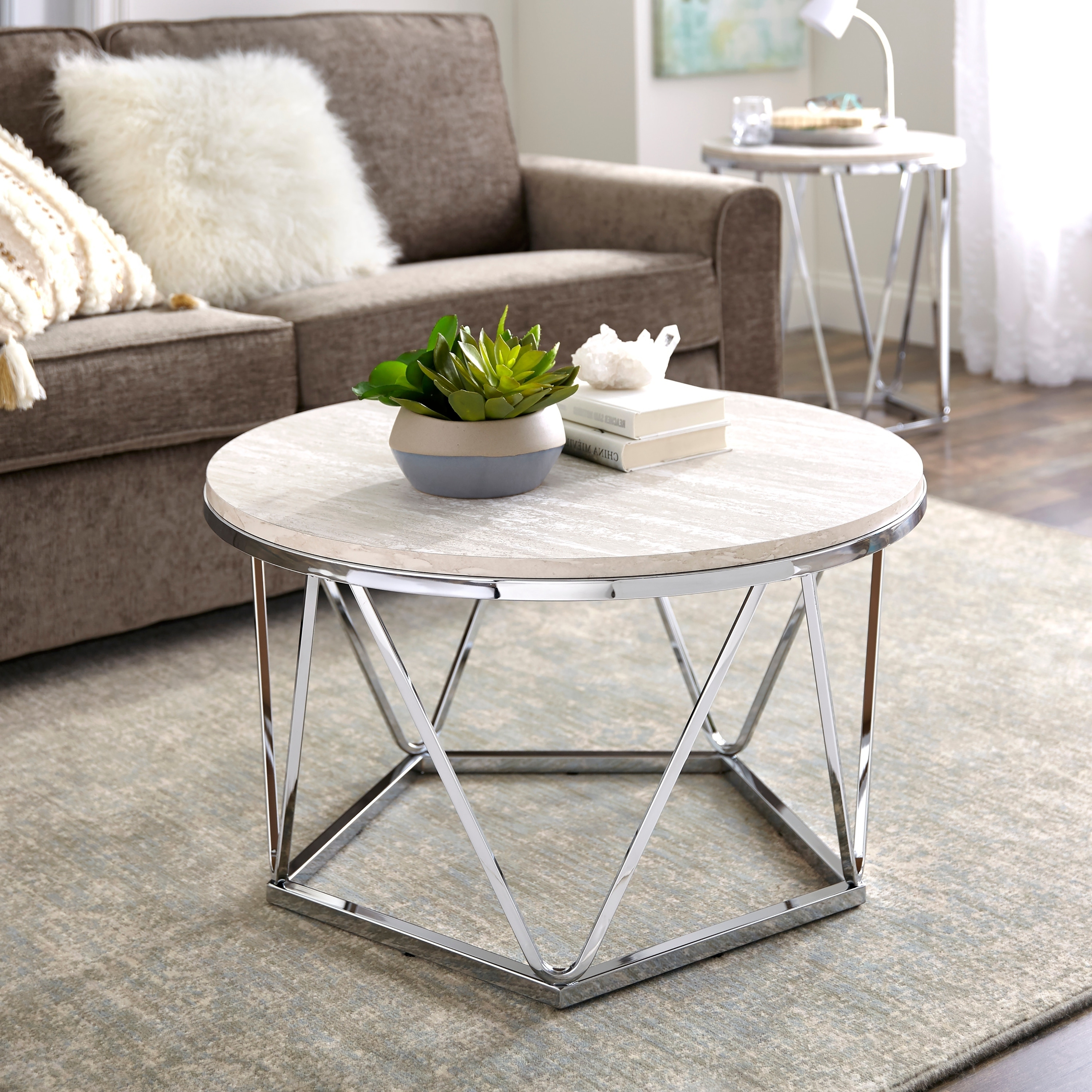 Most Up To Date Silver Orchid Henderson Faux Stone Round End Tables Regarding Silver Orchid Henderson Faux Stone Round Coffee Table (View 4 of 20)