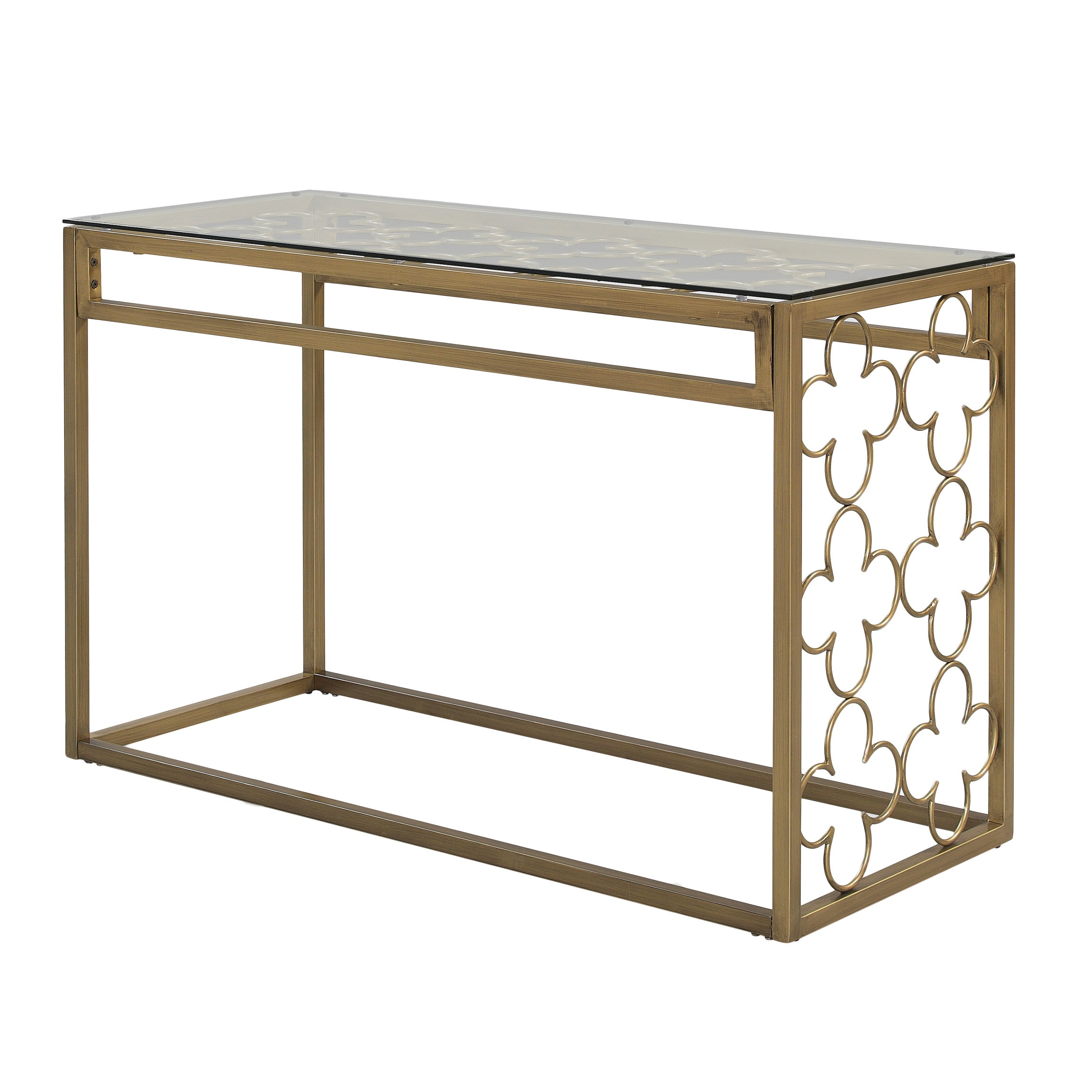 Most Up To Date The Curated Nomad Quatrefoil Goldtone Metal And Glass Coffee Tables Pertaining To The Curated Nomad Quatrefoil Goldtone Metal And Glass Sofa Table (View 9 of 20)
