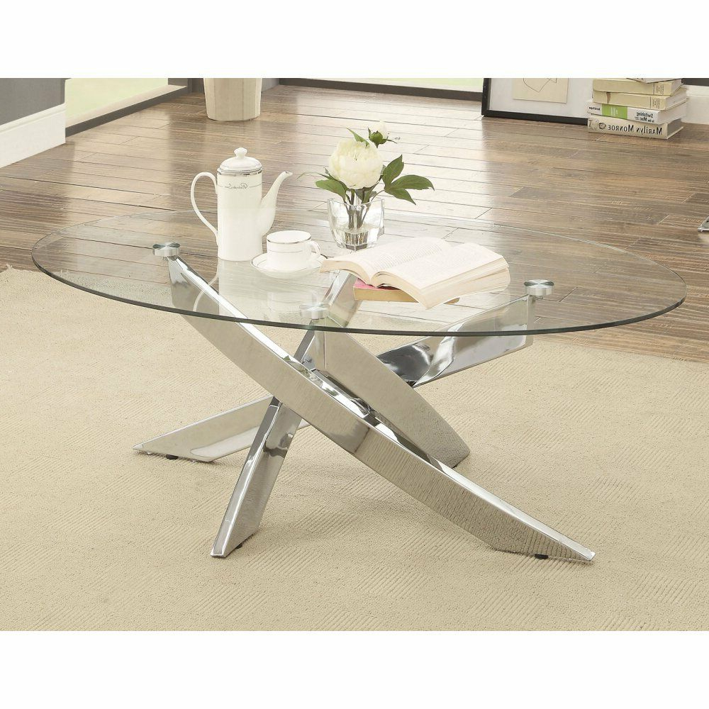 Most Up To Date Velma Modern Satin Plated Coffee Tables Regarding Furniture Of America Myron Contemporary Style Base Coffee Table, Chrome (View 9 of 20)