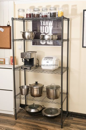 Multifunction 5 Tiers Cheap Diy Open Black Epoxy Metal Kitchen Pantry  Storage Wire Rack Regarding Famous Metal Kitchen Pantry (View 15 of 20)