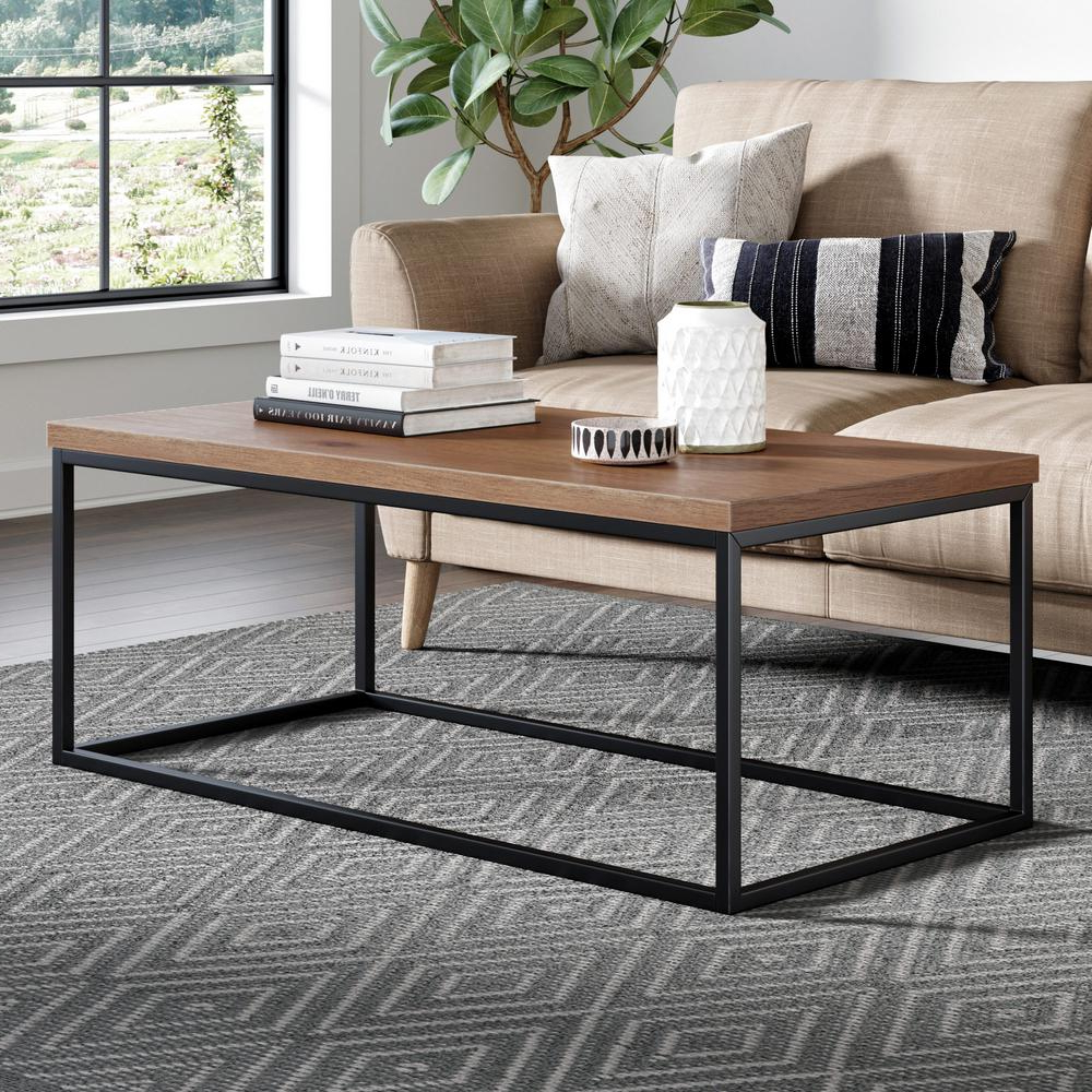 Nathan James Doxa Dark Walnut With Matte Black Metal Frame Within Widely Used Simple Living Manhattan Coffee Tables (View 8 of 20)