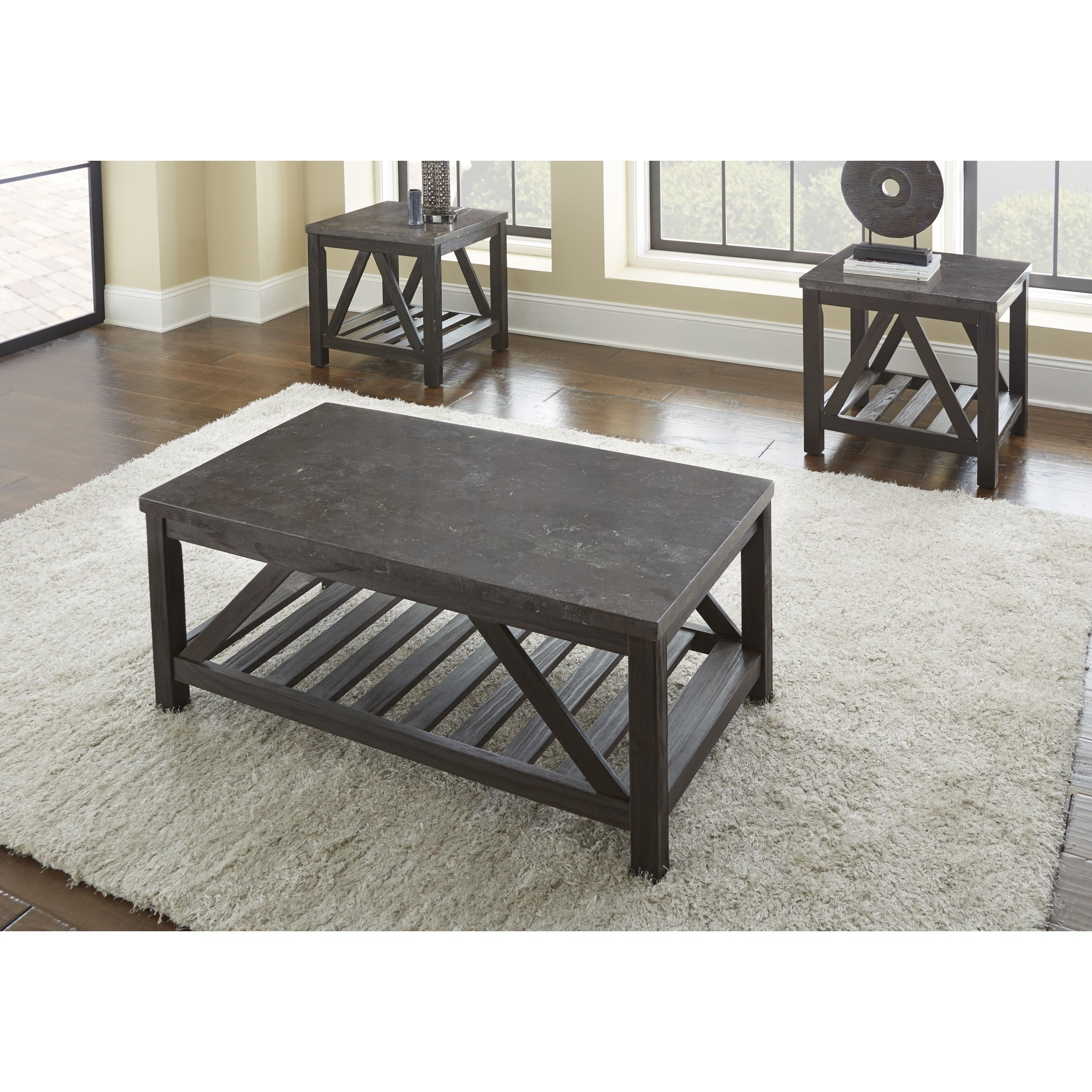New Badin 48 Inch Rectangle Coffee Table With Bluestone Topgreyson  Living With Regard To Most Up To Date Carbon Loft Hamilton 48 Inch Coffee Tables (View 16 of 20)