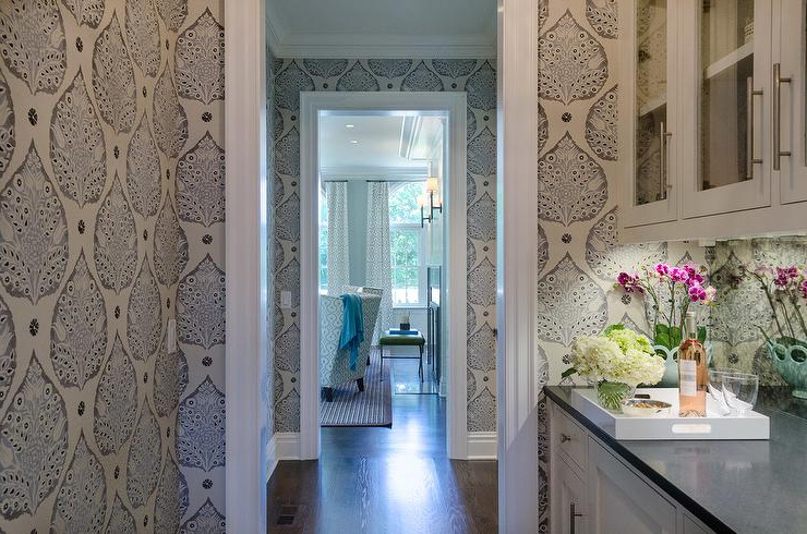 Newest Butler Pantry With Mirrored Backsplash And Galbraith And Pertaining To Lotus Kitchen Pantry (View 16 of 20)