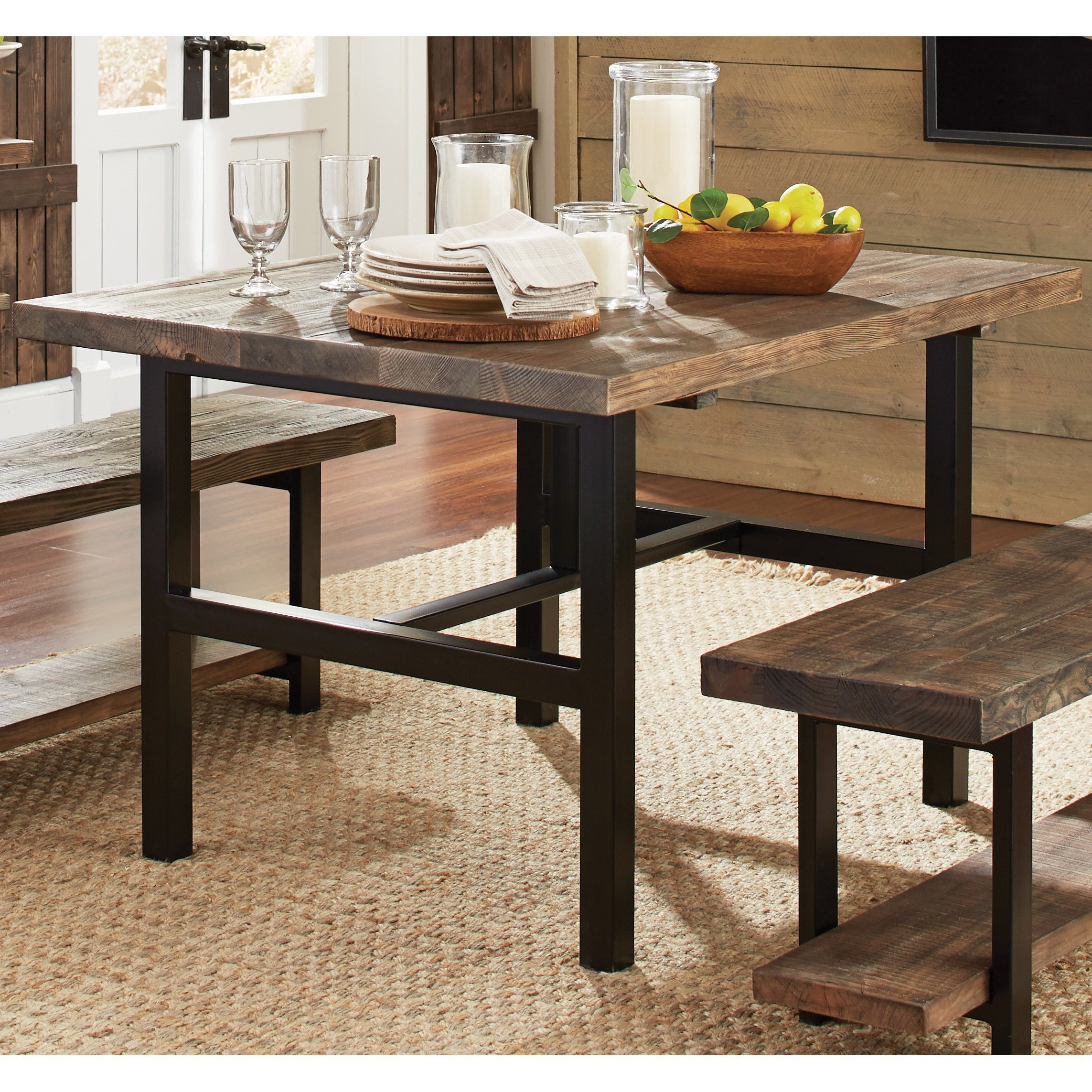Newest Carbon Loft Lawrence Metal And Reclaimed Wood Coffee Tables Throughout Carbon Loft Lawrence Reclaimed Wood 48 Inch Dining Table – Brown (View 16 of 20)