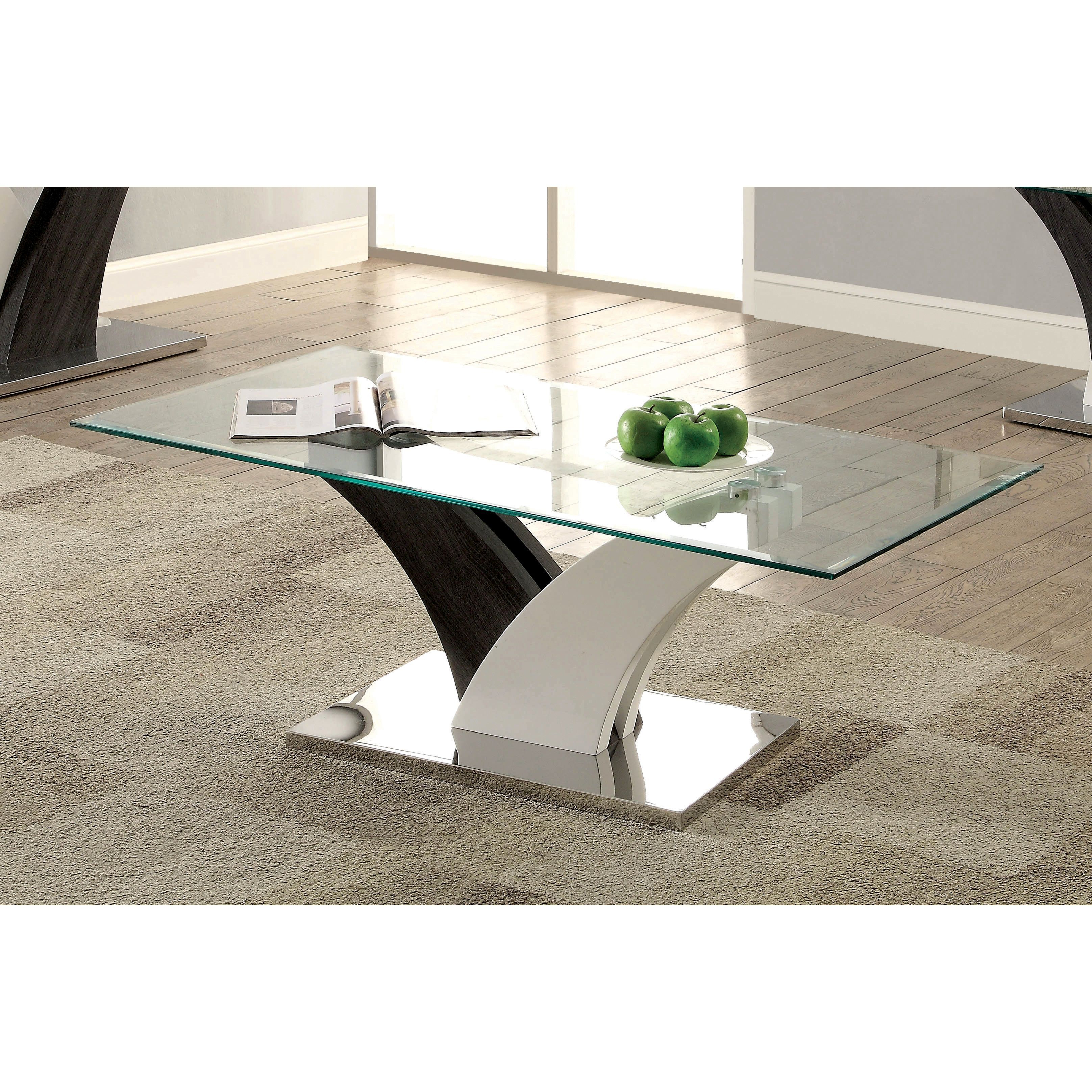 Newest Carmella Satin Plated Coffee Tables Throughout Bevelen Contemporary White Coffee Tablefoa In (View 13 of 20)