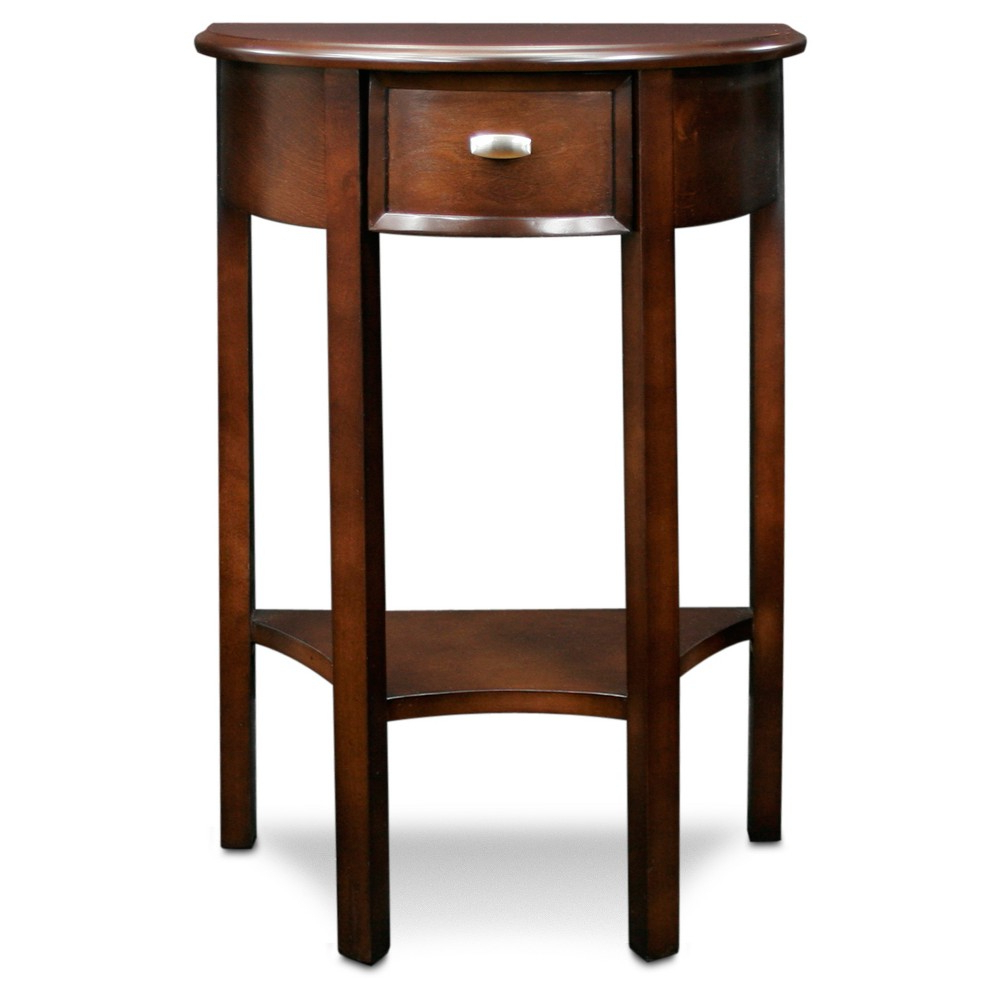 Newest Copper Grove Halesia Chocolate Bronze Round Coffee Tables In Demilune Hall Stand – Chocolate Cherry – Leick Home (View 9 of 20)