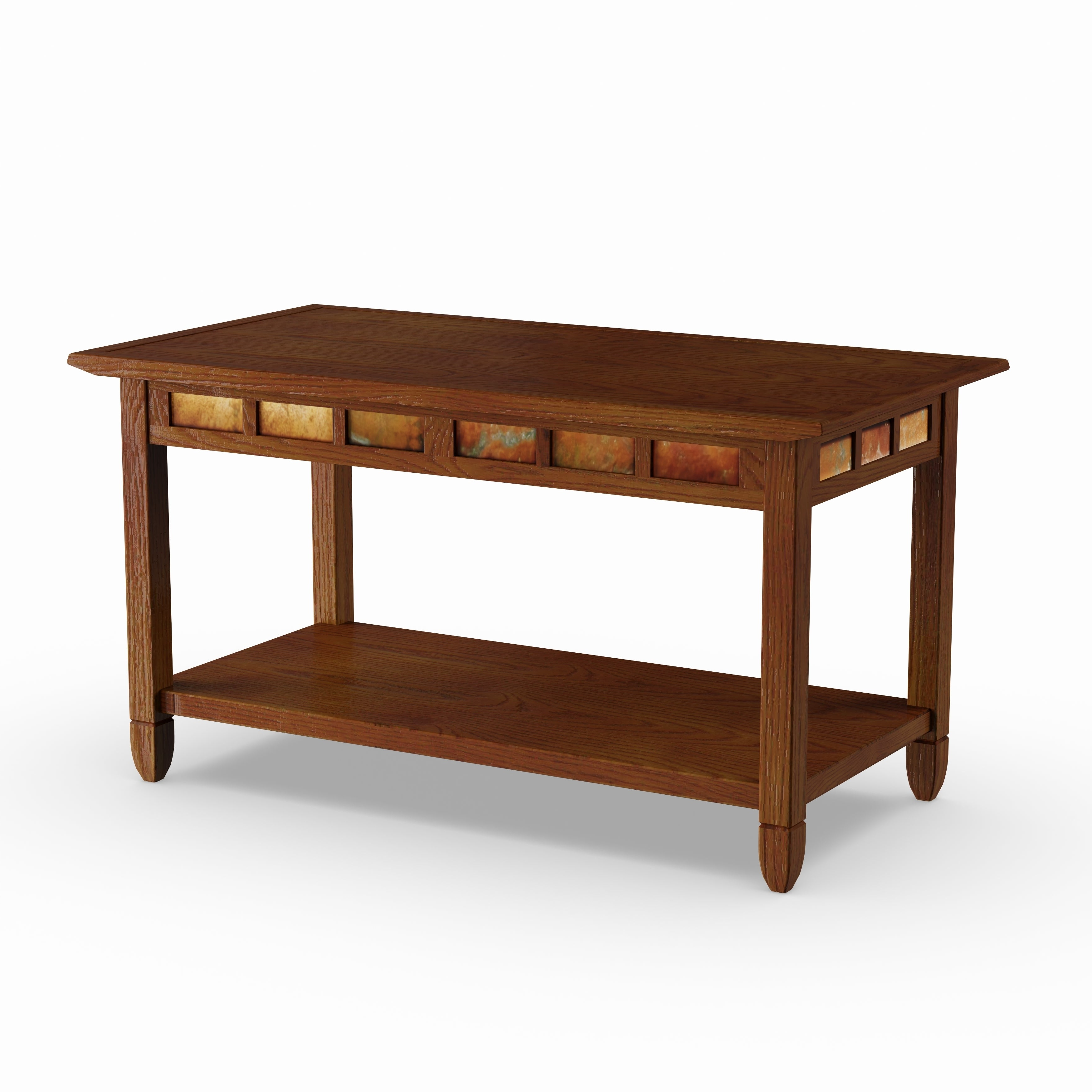 Featured Photo of Copper Grove Ixia Rustic Oak And Slate Tile Coffee Tables