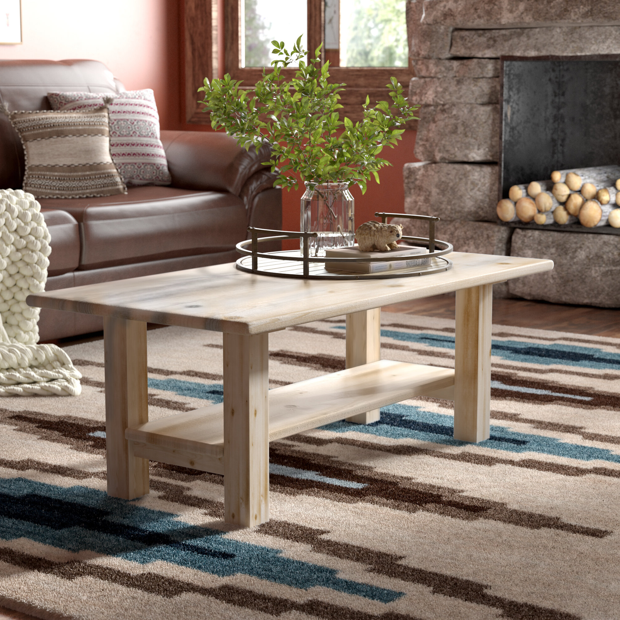 Newest Furniture Of America Charlotte Weathered Oak Glass Top Coffee Tables Within Abella Coffee Table With Shelf (View 17 of 20)