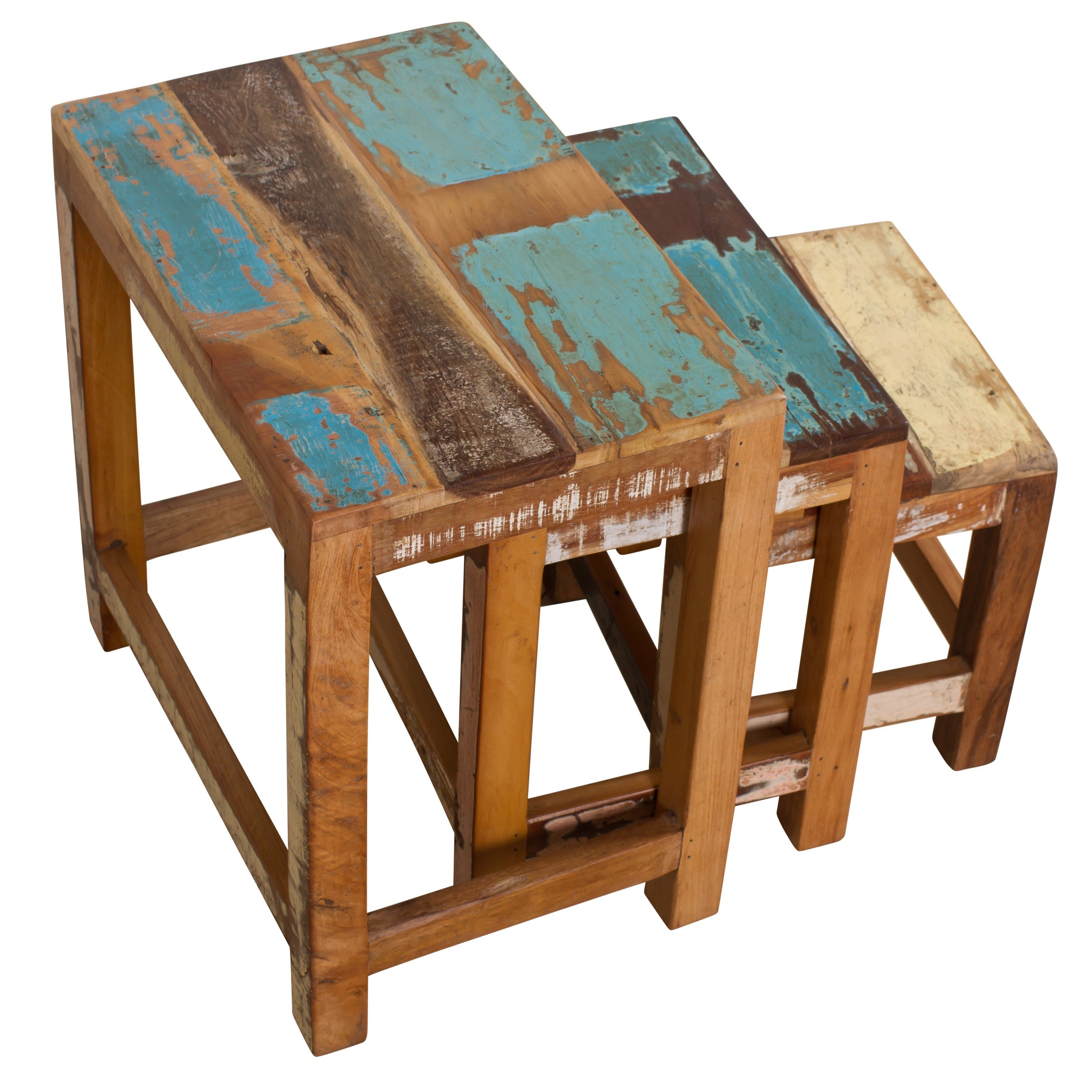 Newest Handmade Whitewashed Stripped Wood Tables Intended For Handmade Stripped Wood 3 Piece Nesting Table Trio (India) (View 10 of 20)