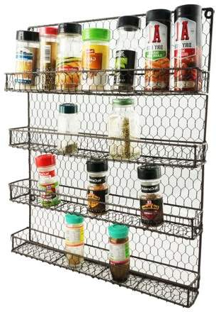 Newest K Cliffs 4 Tier Metal Spice Rack Wall Mount Kitchen Spices Organizer Pantry  Cabinet Hanging Herbs Seasoning Jars Storage Closet Door Cupboard Mounted Throughout Elliana Storage Kitchen Pantry (View 14 of 20)